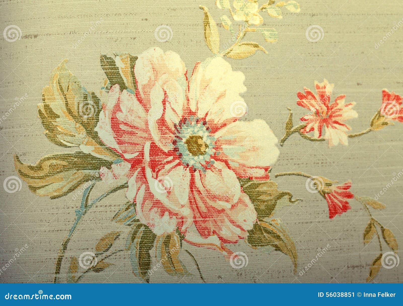 Papel de parede marrom chique gasto do vintage com teste padrão floral