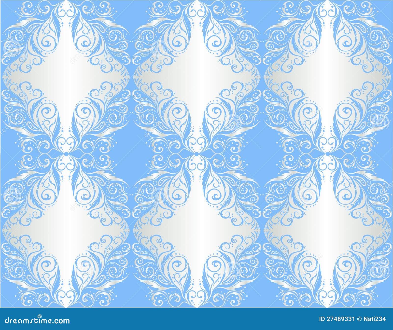 Papel de parede ornamento floral na prata e no azul - Papel decorado para paredes ...