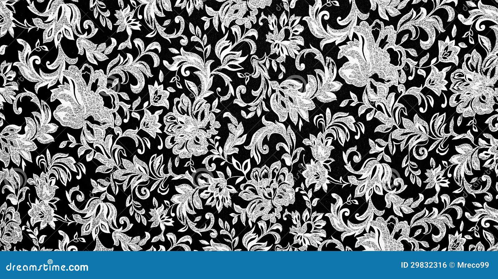Black And White Floral Pattern Wallpaper: Fundo Preto E Branco Floral Foto De Stock