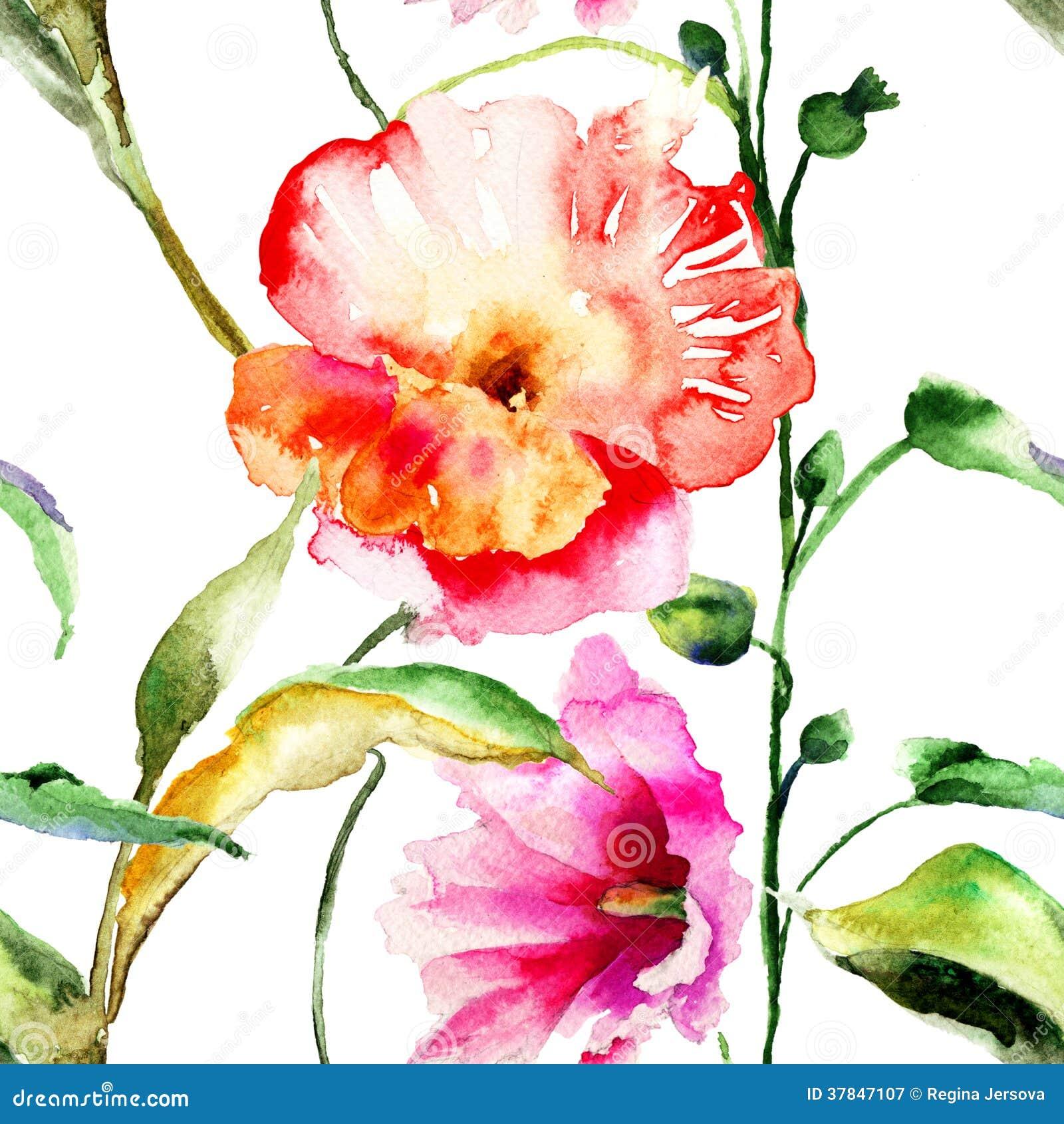 Papel De Parede Sem Emenda Com Flores Bonitas Ilustra O Stock  -> Fotos De Paredes Bonitas