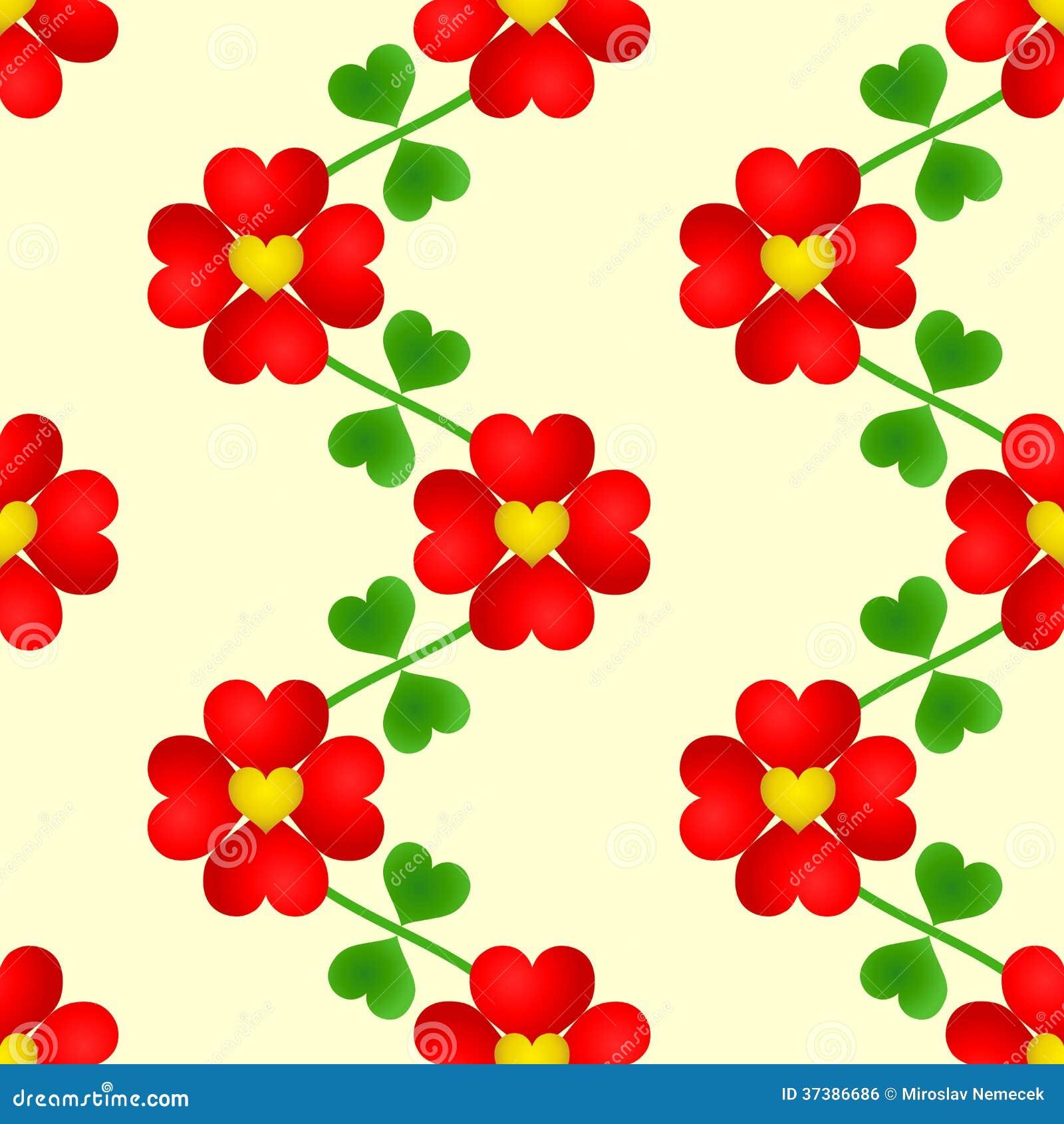 Papel De Parede Sem Emenda Da Flor Do Cora O Ilustra O Do Vetor  -> Modelos De Papel De Parede Em Forma De Flores
