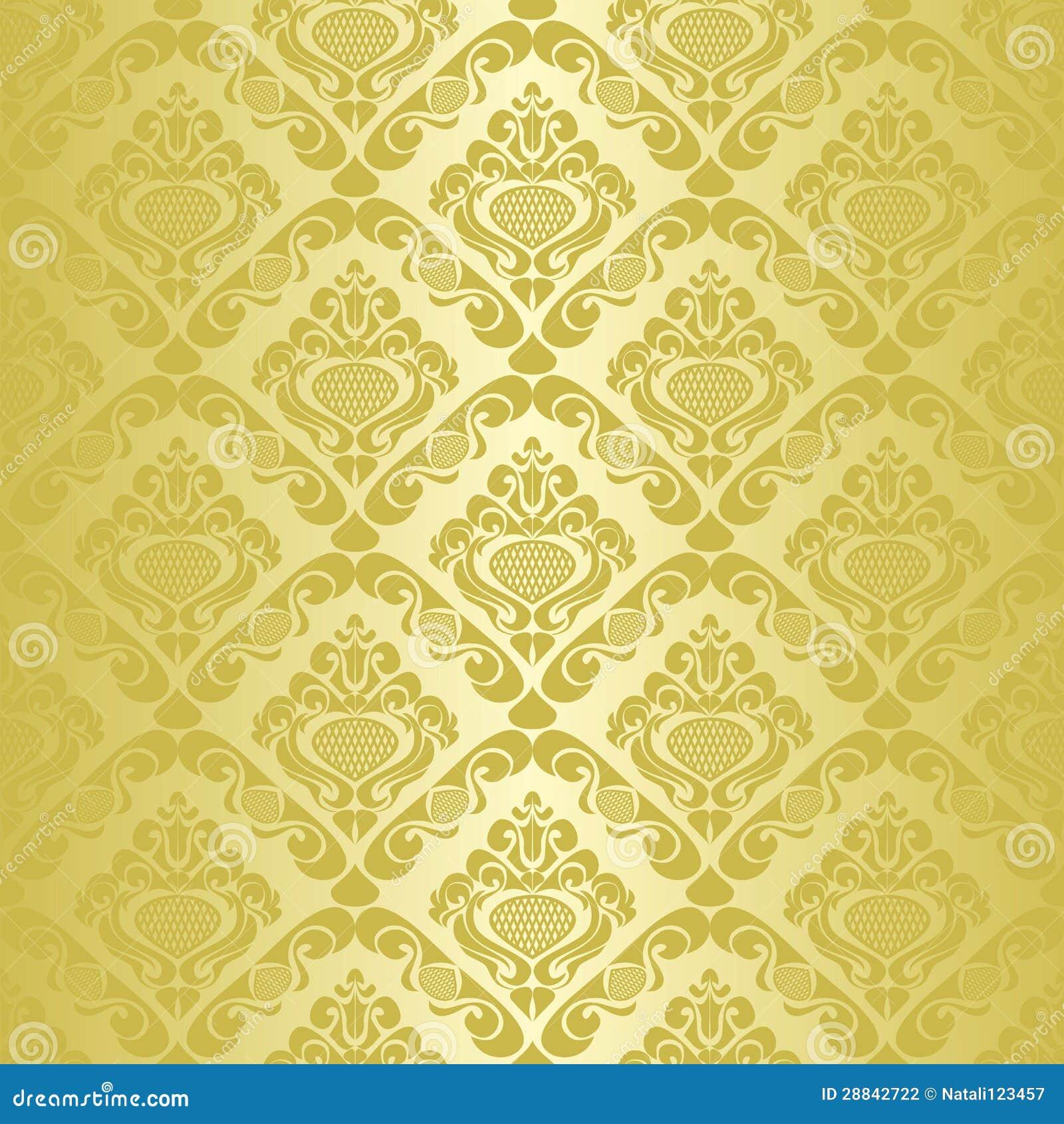 Papel de parede sem emenda dourado fotografia de stock for Papel de pared dorado