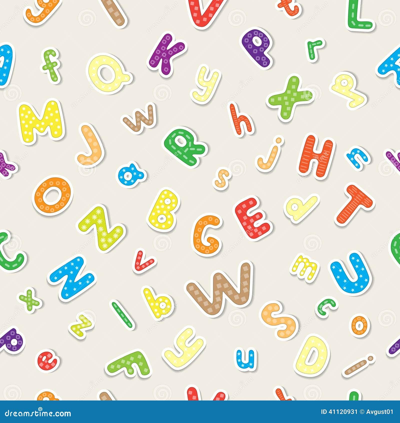Papel De Parede Sem Emenda Feito Do Alfabeto Alegre Colorido Ilustração do