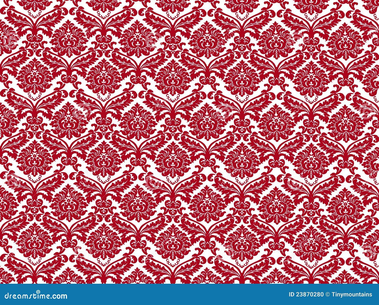 Papel de parede vermelho branco ilustra o stock imagem for Carta da parati damascata rossa