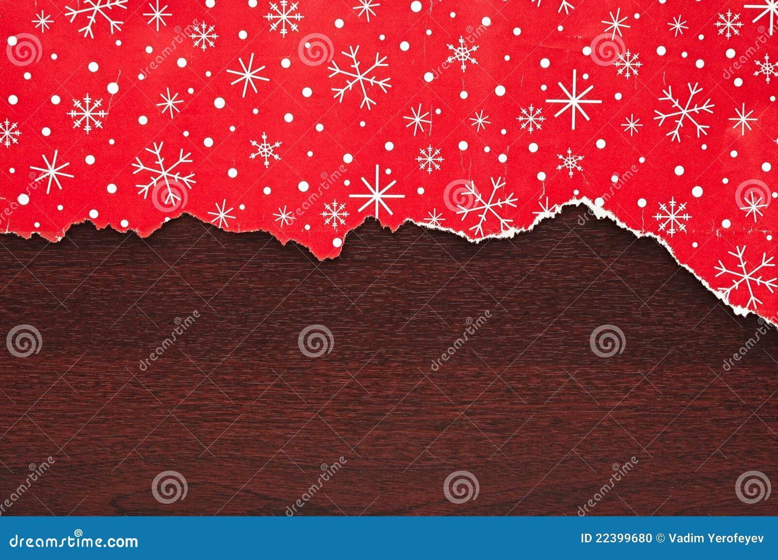 Papel Decorativo Rasgado De La Navidad Foto De Archivo