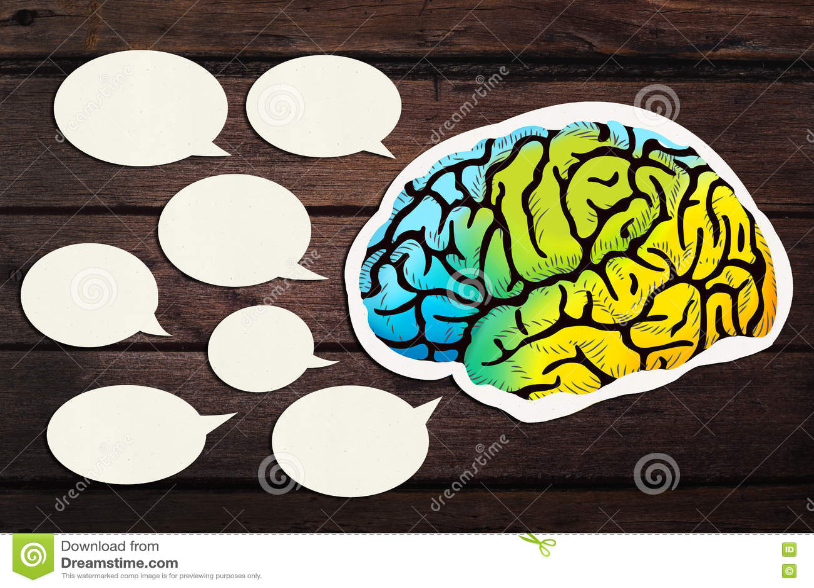 Papel en blanco cortado con Brain Speech