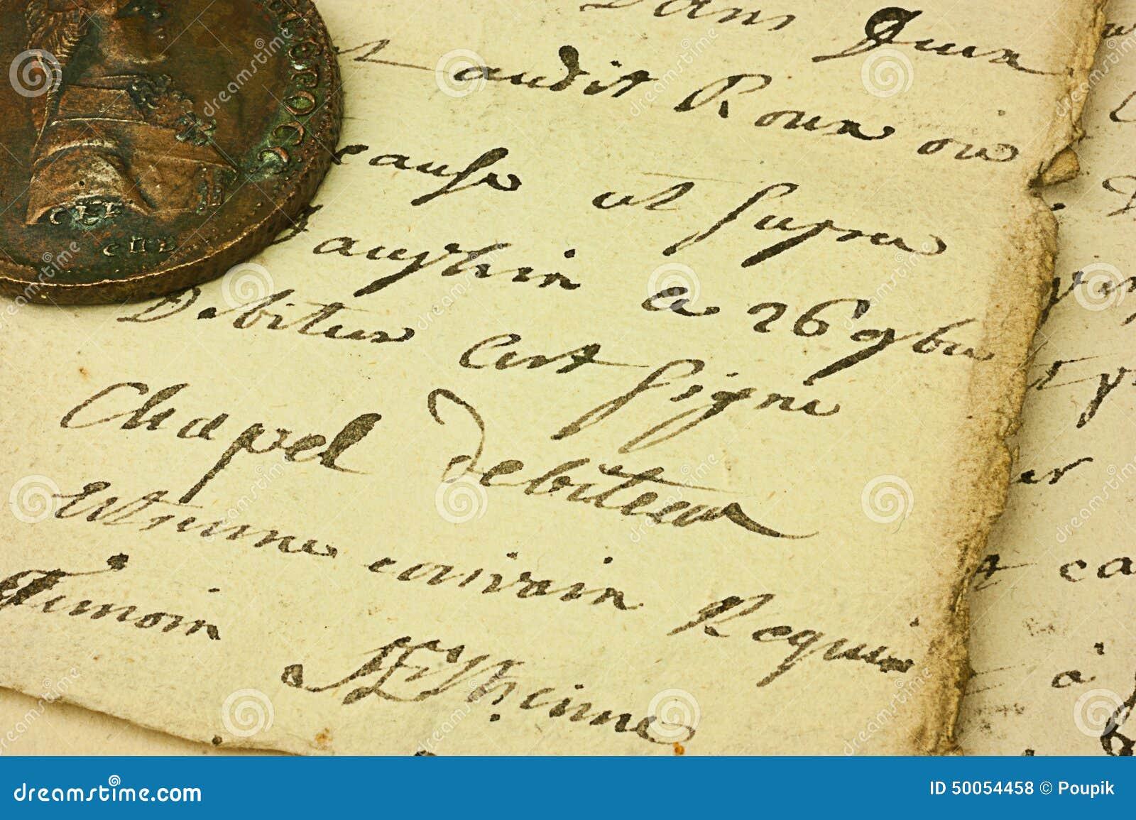 Papel escrito mano del vintage foto de archivo imagen for Fondos de escrito