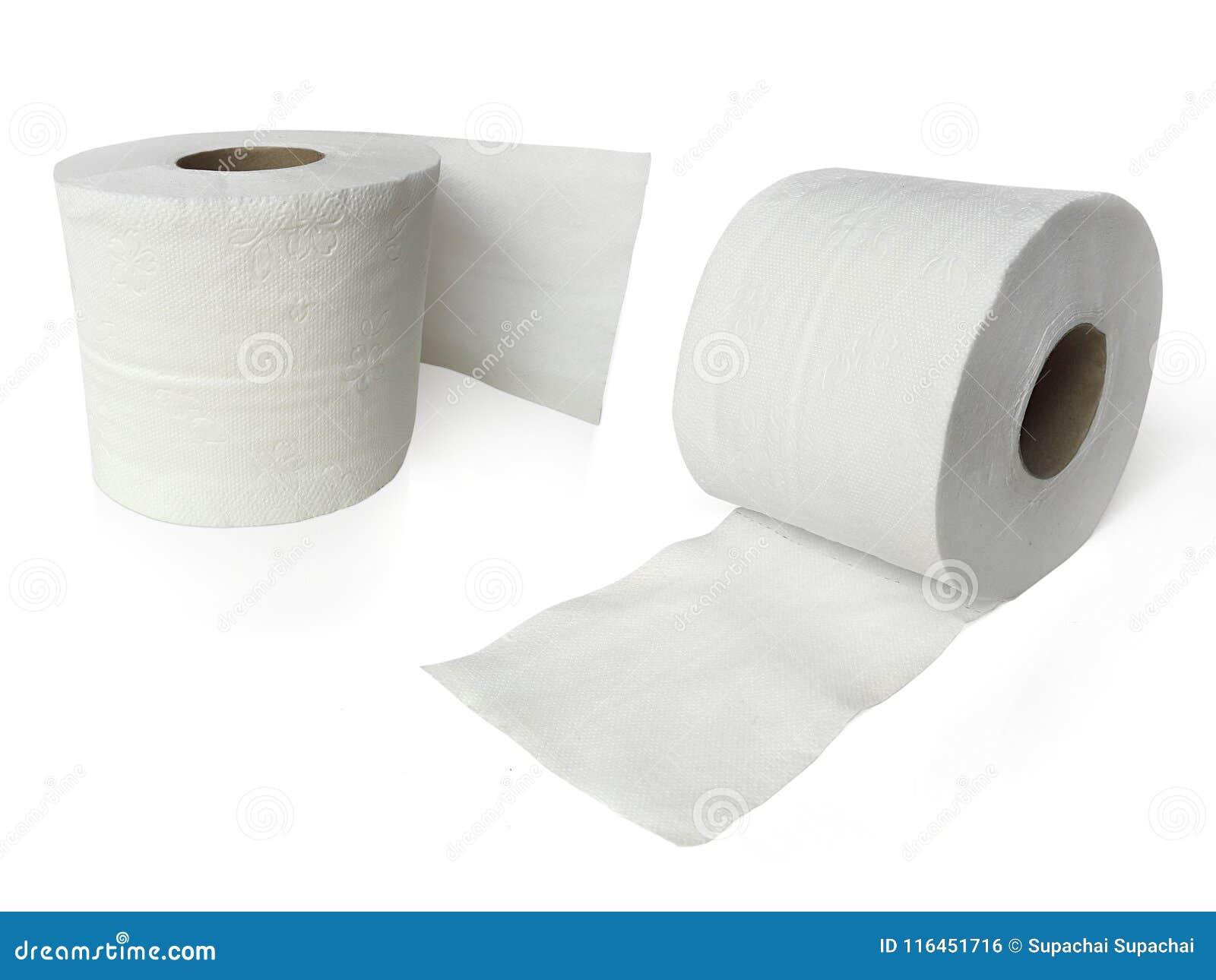 Papel higiênico, rolo do lenço de papel isolado no fundo branco