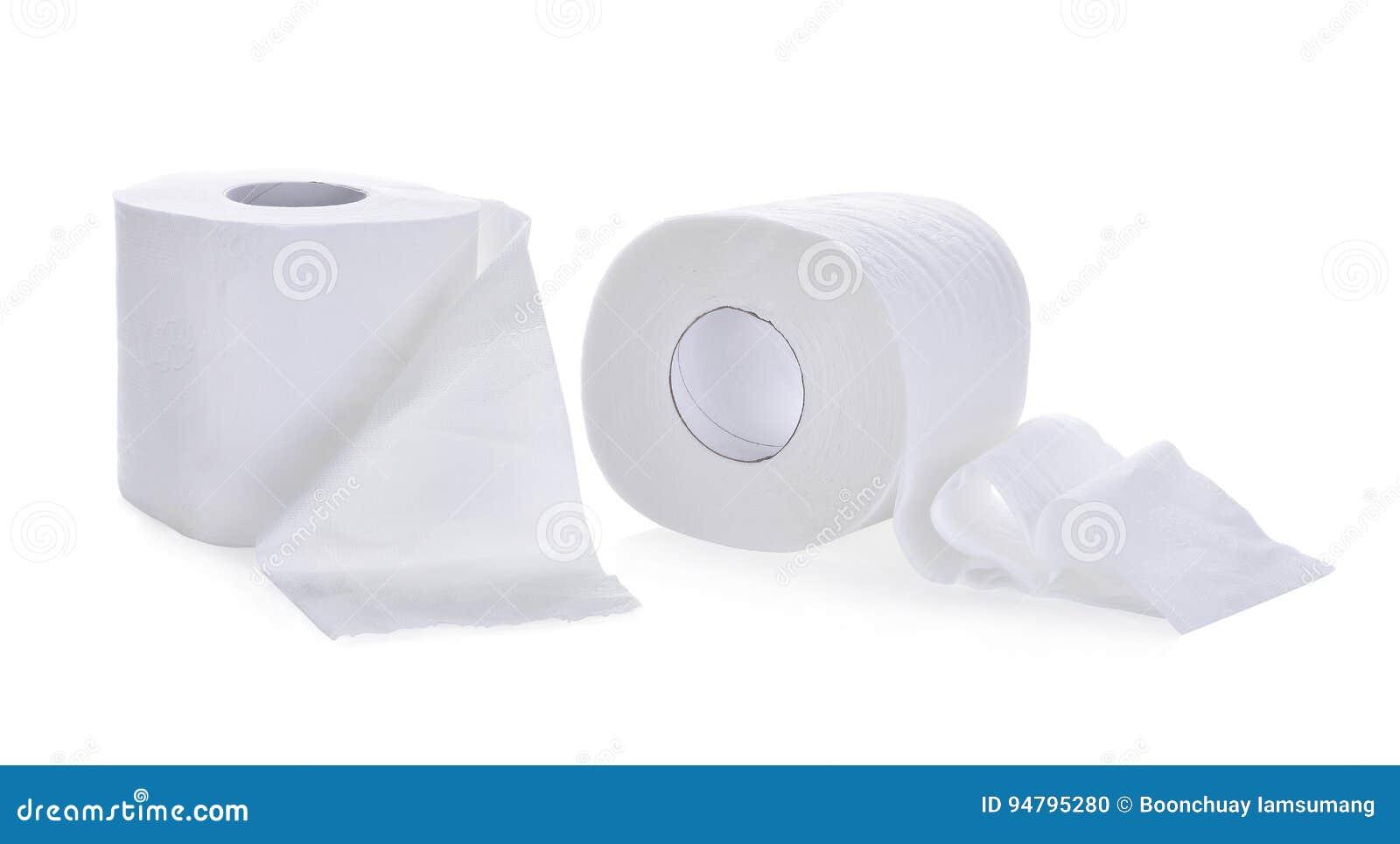 Papel higiênico, rolo do lenço de papel isolado no branco