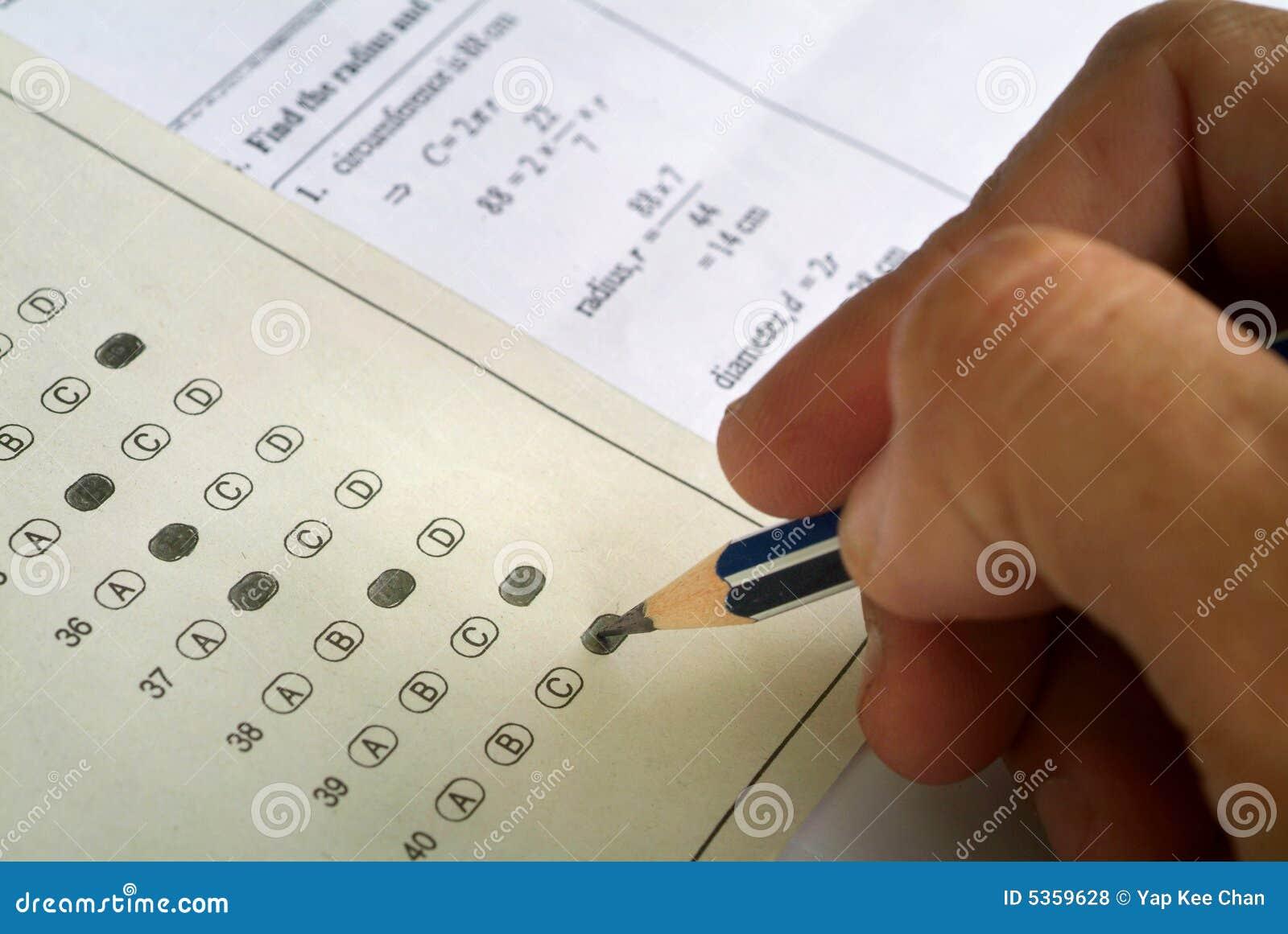 Papel matemático do exame