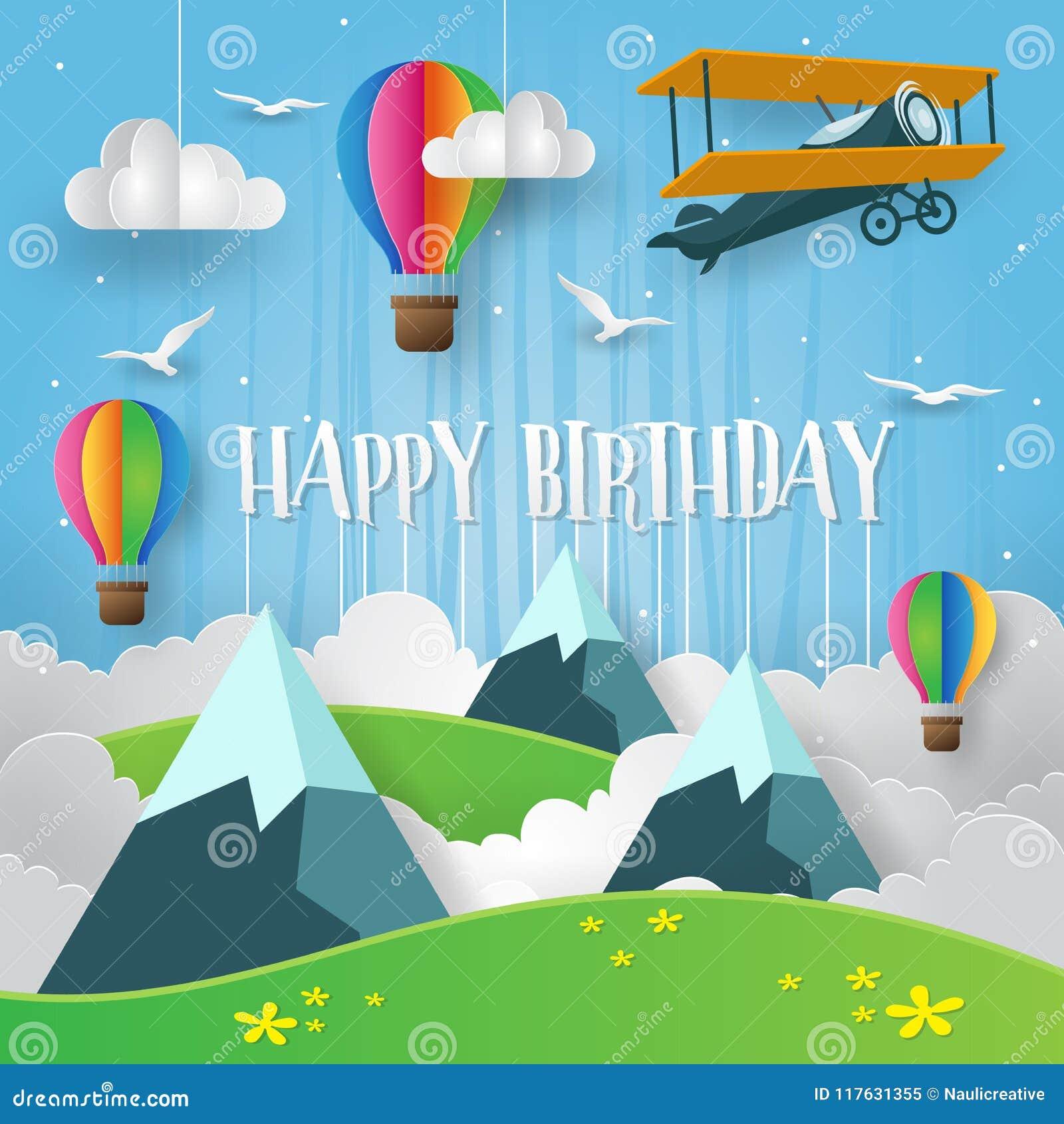 Papel moderno Art Style Mountain Adventure In el ejemplo de la tarjeta del feliz cumpleaños del cielo