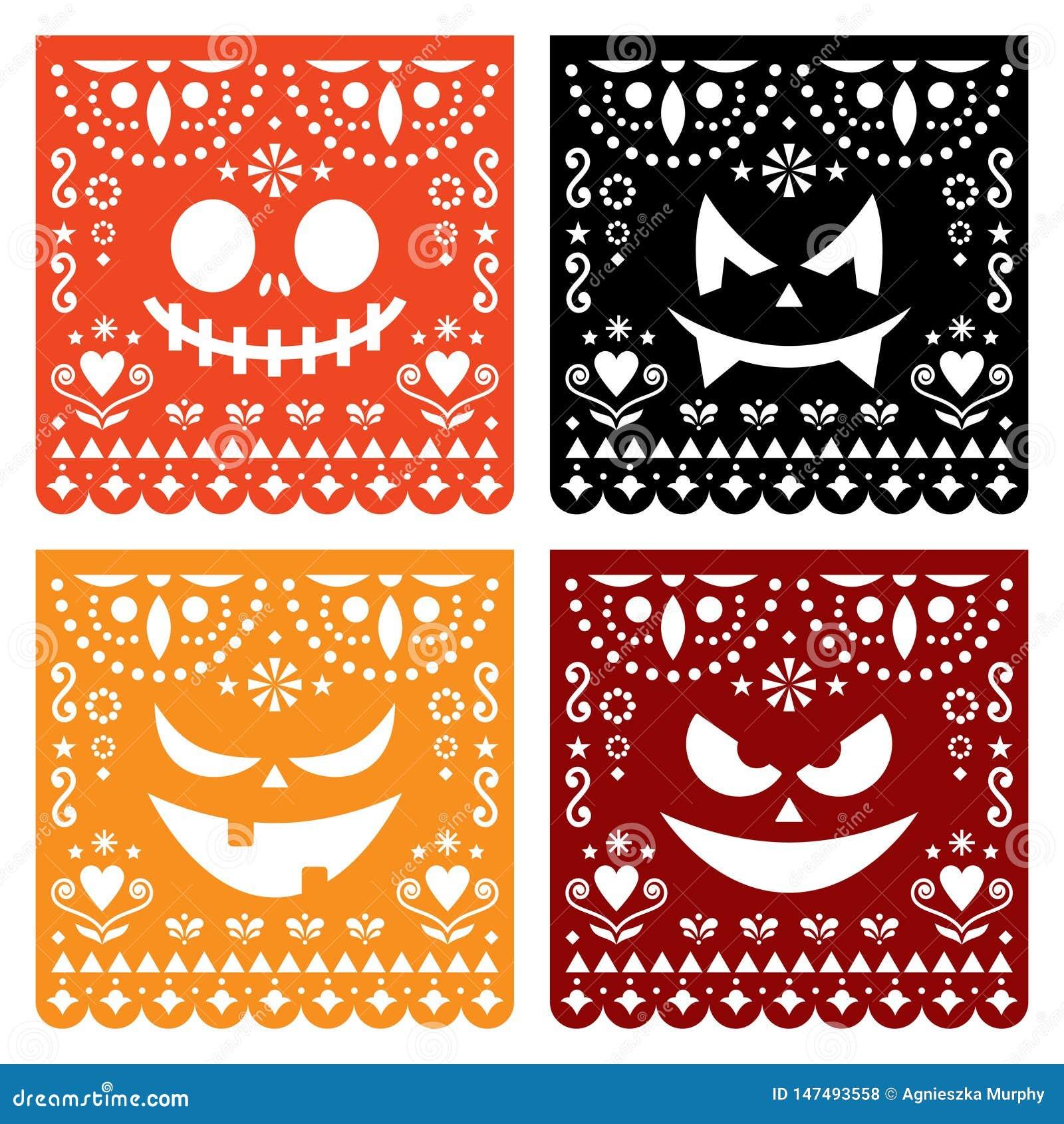 Halloween Papel Picado Design With Pumpkin Scary Faces