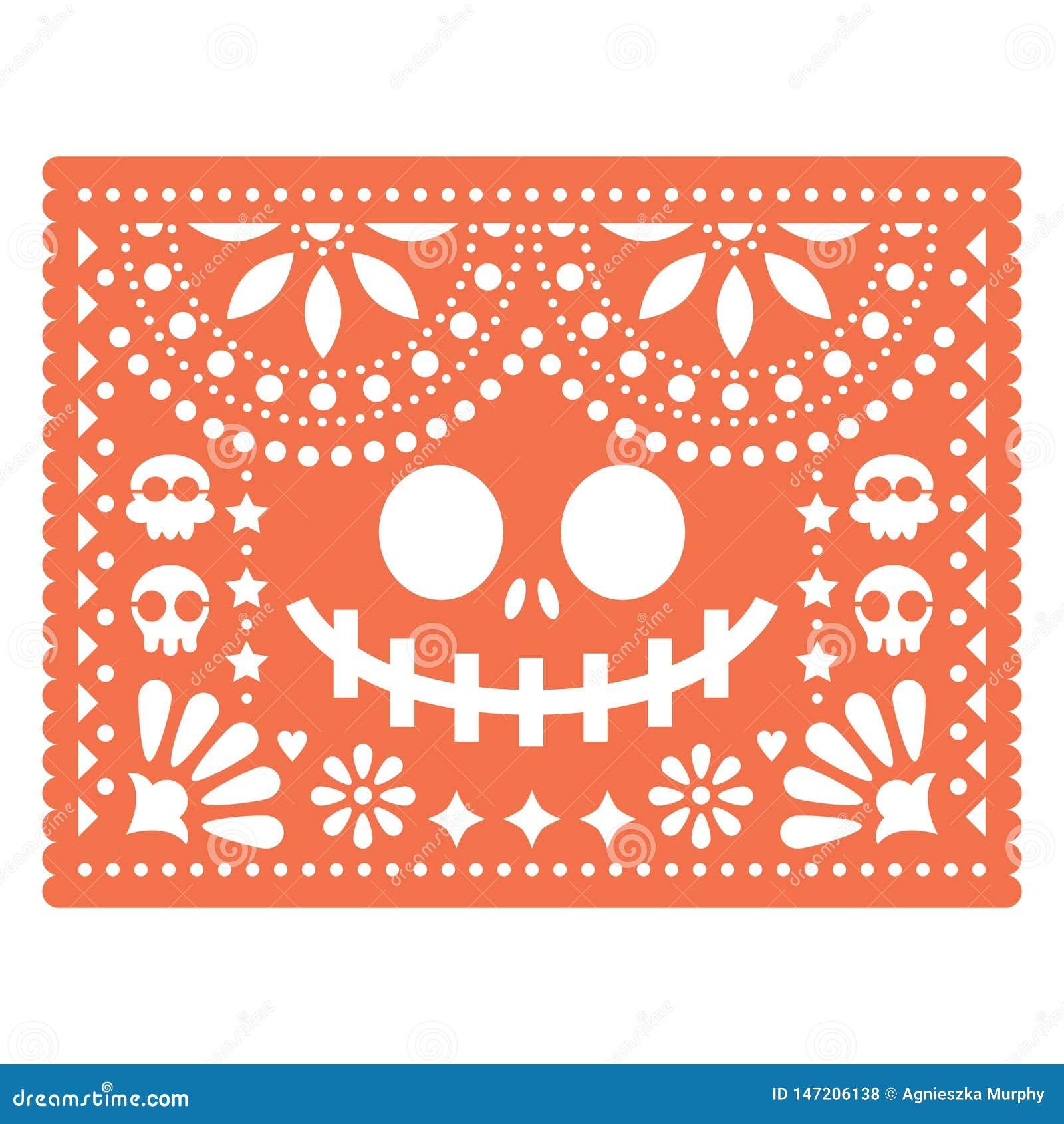 Halloween Papel Picado Design With Skulls And Pumpkin
