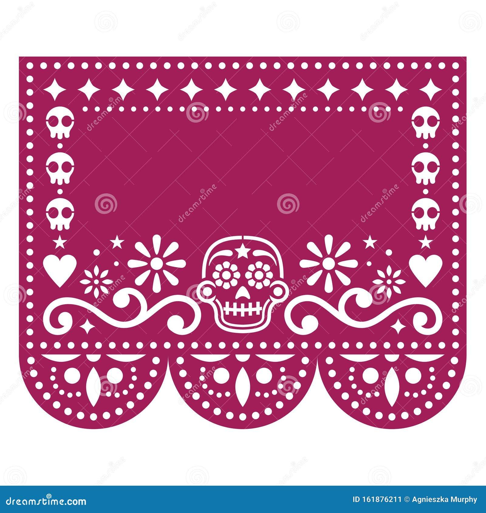Papel Picado Template Design With Sugar Skulls, Mexican