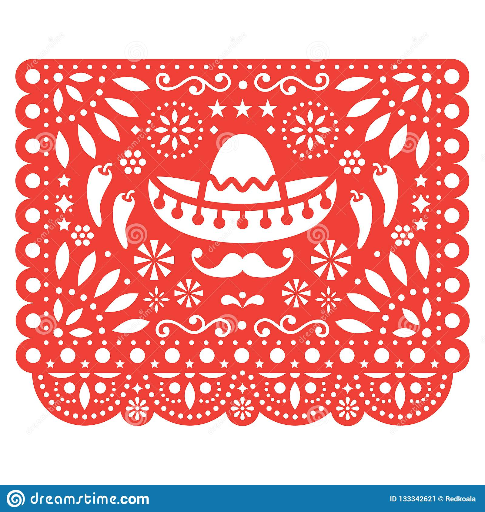 Papel Picado Vector Floral Design With Sombrero And Chili Peppers