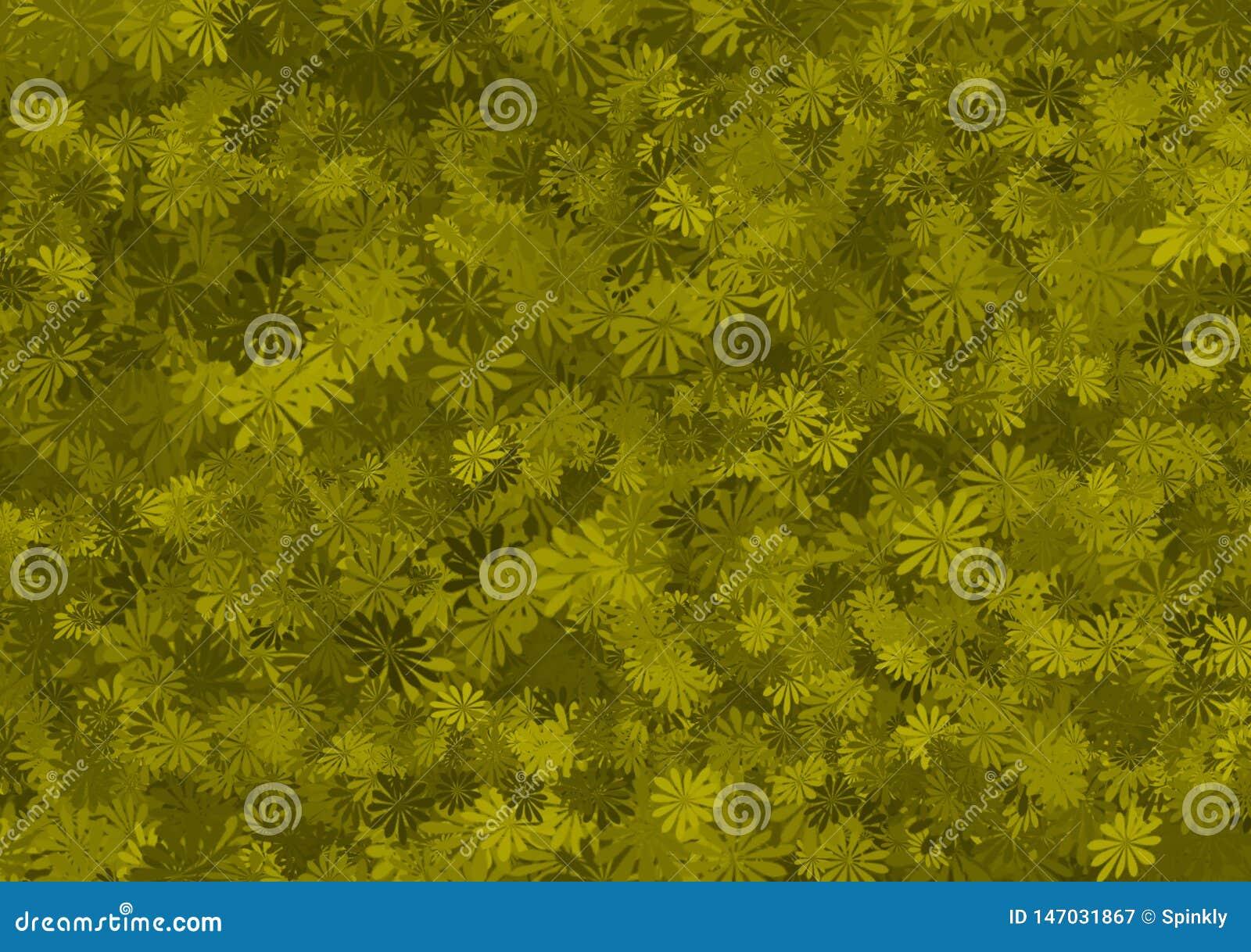 Papel pintado acodado estampado de flores verde