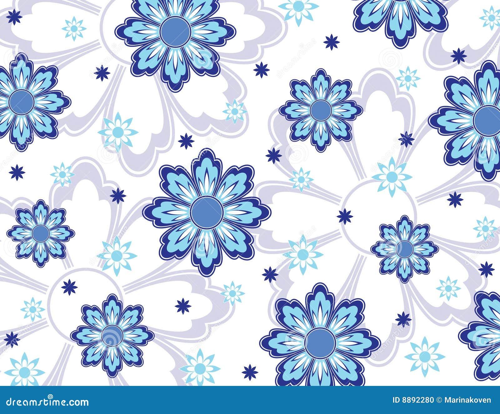 Papel pintado azul de las flores foto de archivo imagen for Papel pintado azul