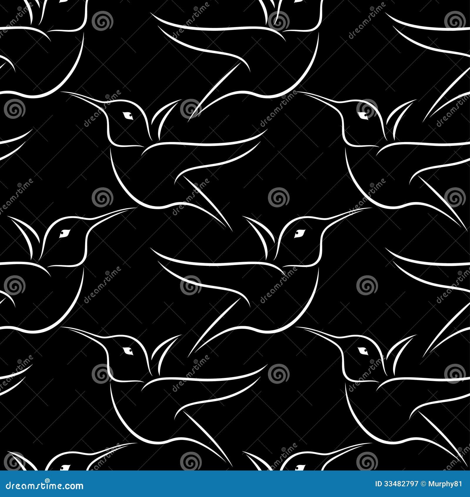 Papel pintado blanco y negro del colibr fotograf a de - Papel pintado blanco y plata ...