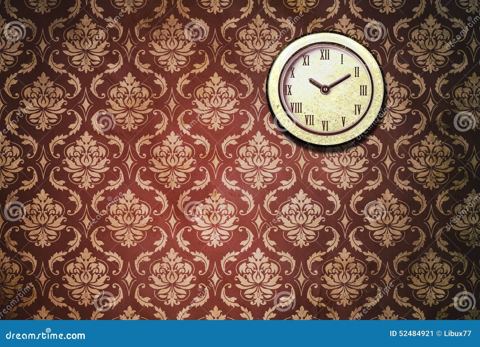 Papel pintado cl sico del reloj de pared del vintage - Papel vintage pared ...