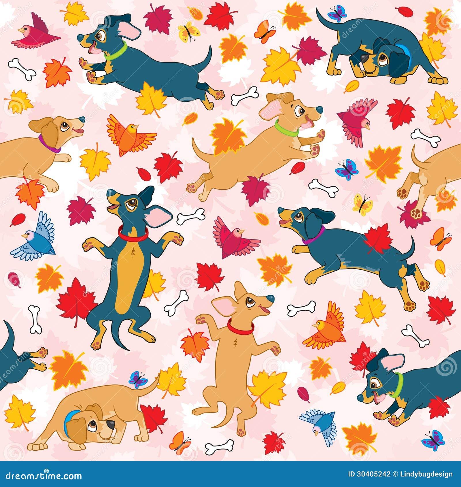 Los perros de salchicha aman el modelo del papel pintado - Papel pintado animales ...