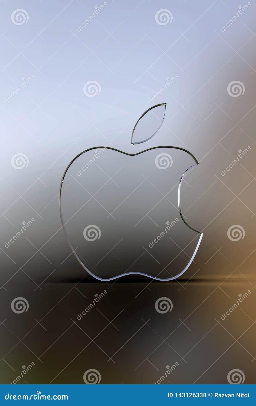 Papel pintado del logotipo de Apple, fondo borroso
