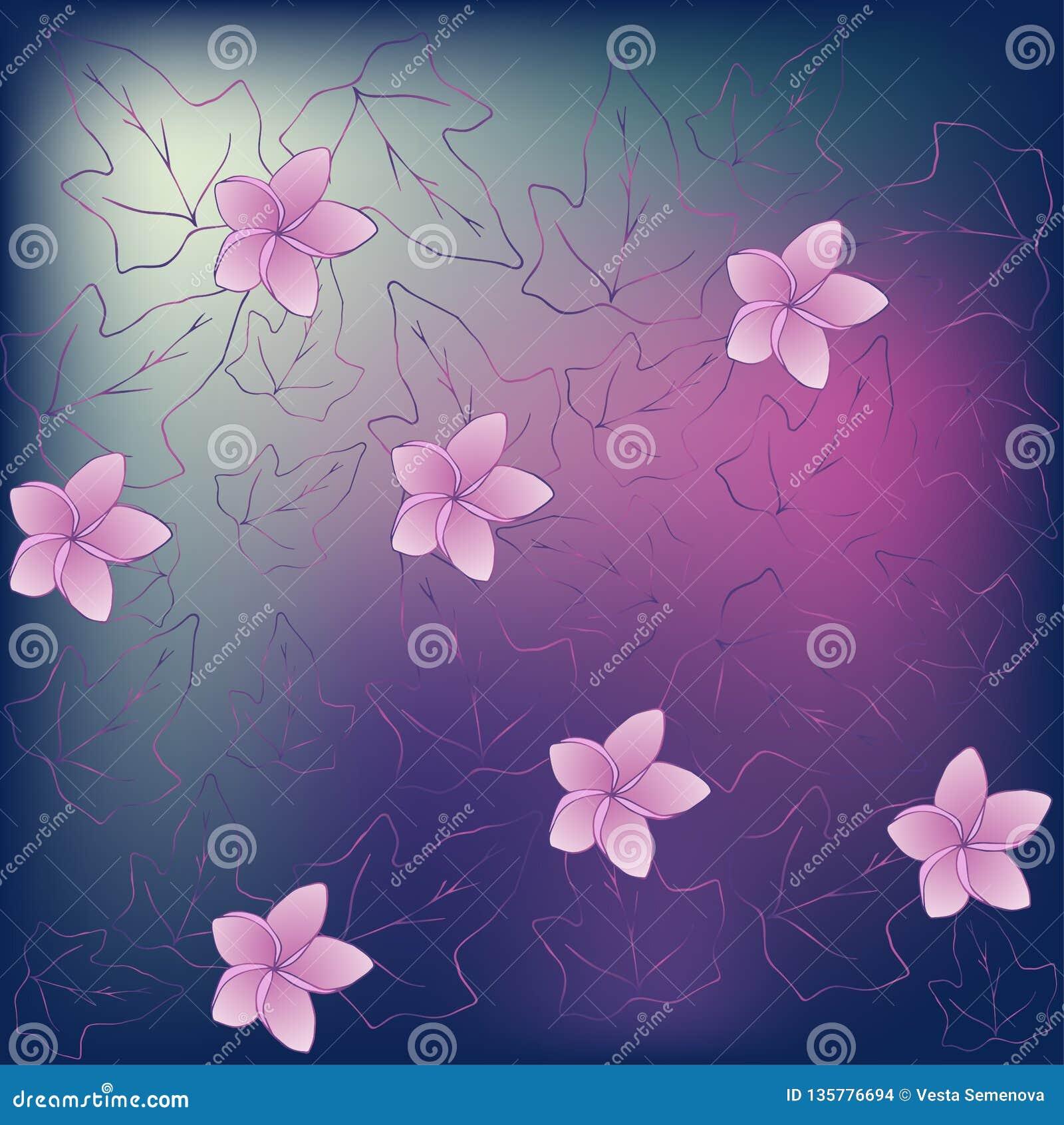Papel pintado en un estilo romántico con el Hedera de las flores de la magnolia y de las hojas de la hiedra Hecho en púrpura y ro