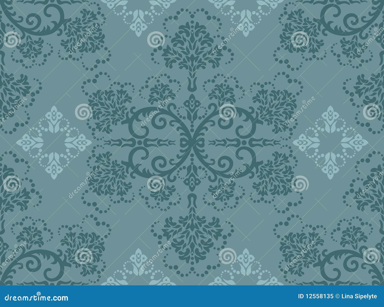 Papel pintado floral de la turquesa incons til foto de - Papel pintado turquesa ...