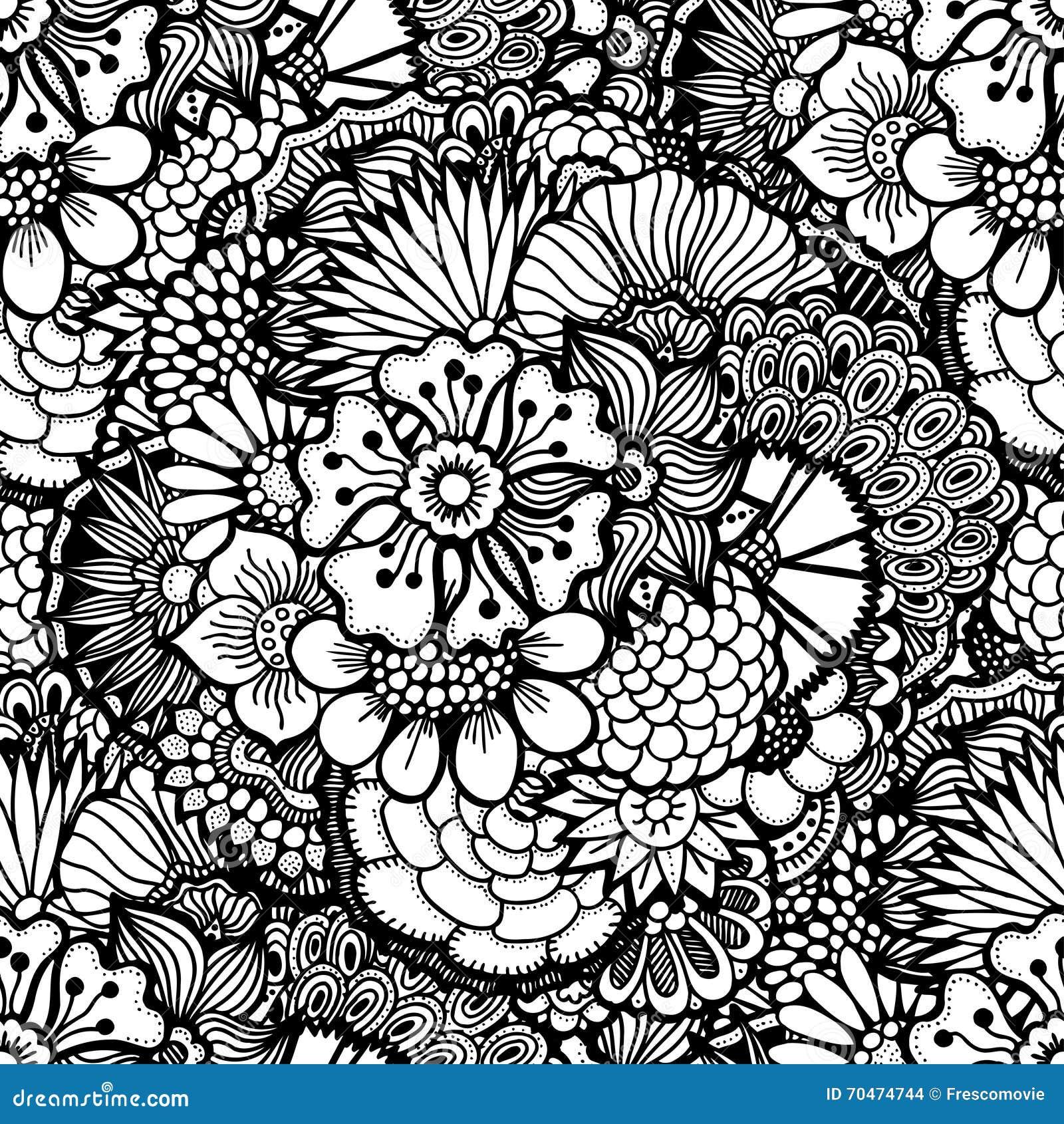 Papel pintado floral drenado mano ilustraci n del vector imagen 70474744 - Papel pintado a mano ...