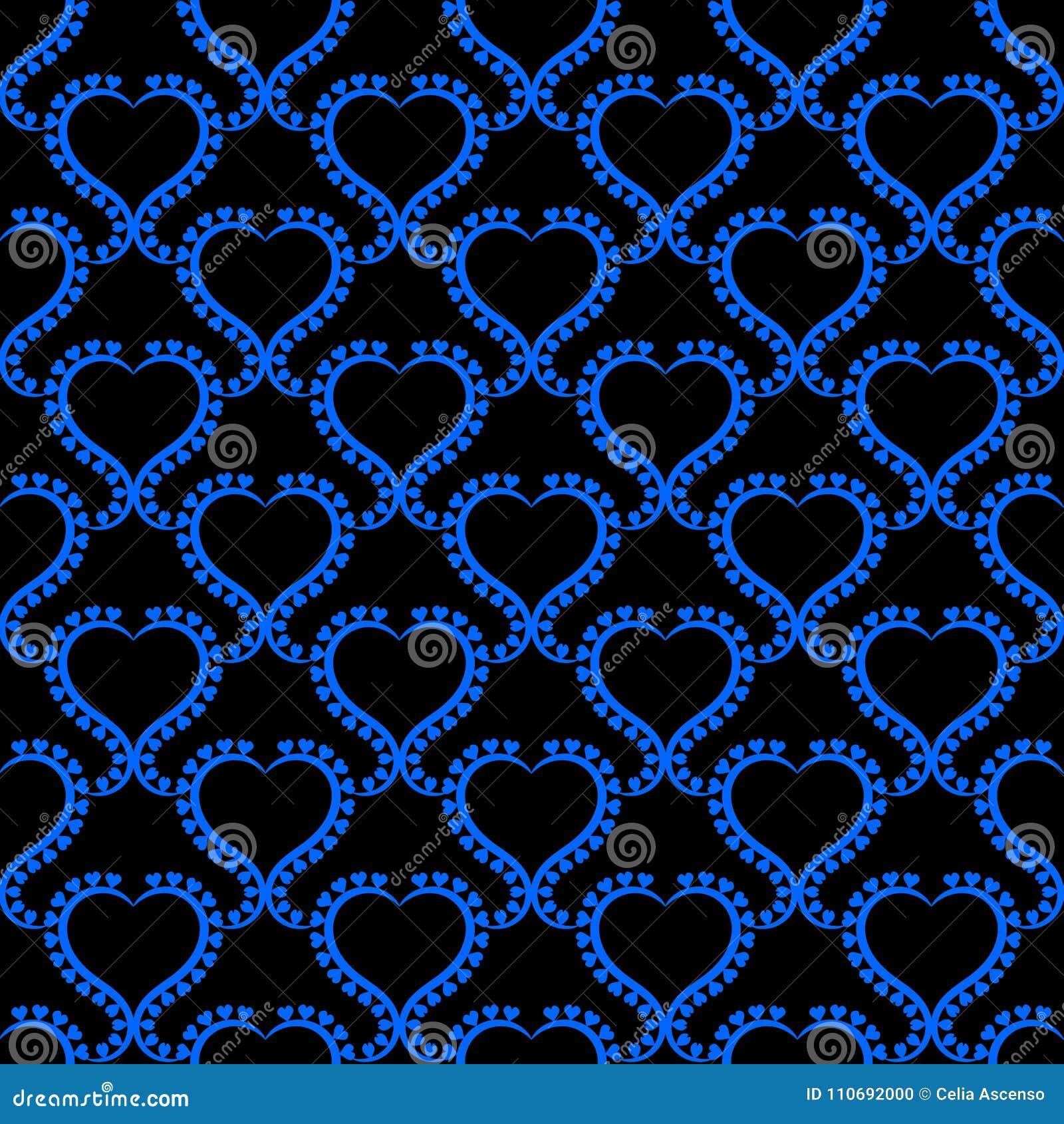 Papel pintado inconsútil azul de los corazones de la noche