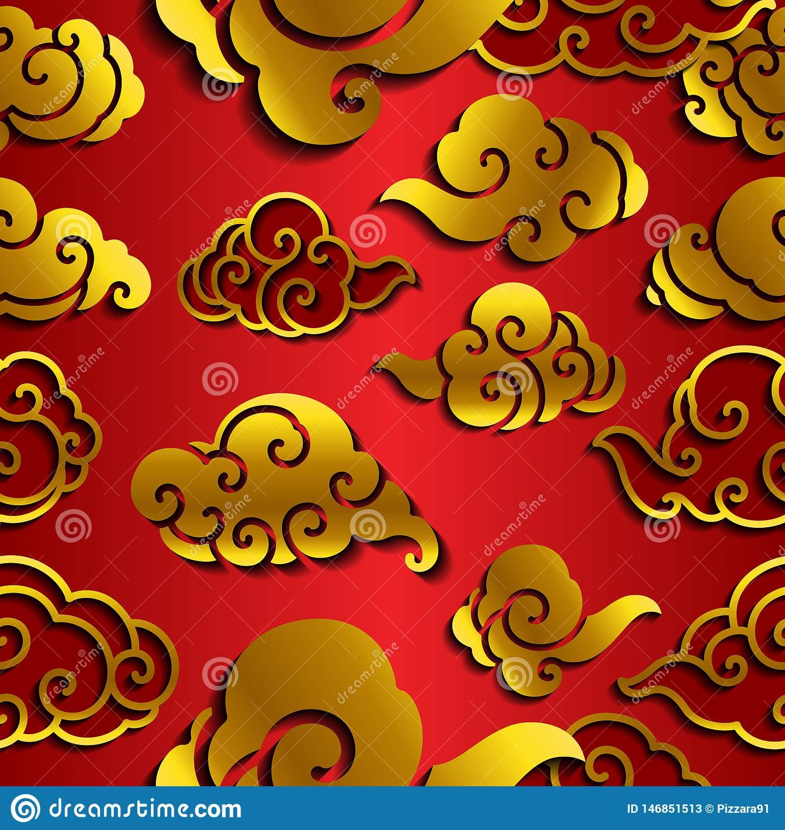 Papel pintado inconsútil de la onda china de la nube