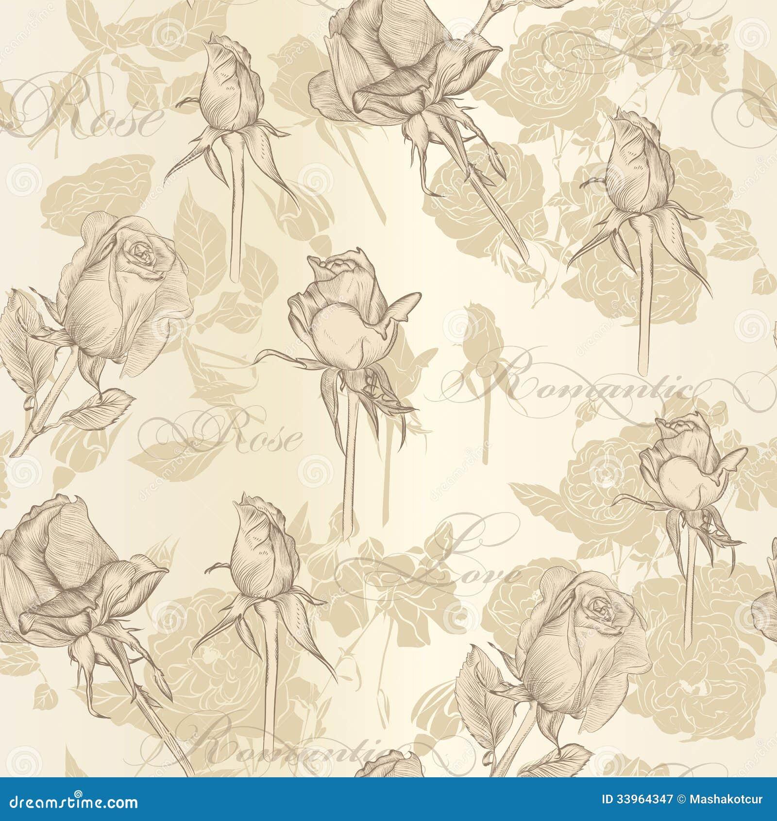 Papel pintado incons til del vector con las rosas en - Papel vintage pared ...