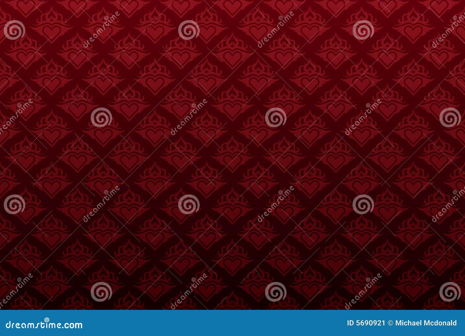 Papel pintado inconsútil floral del corazón rojo oscuro