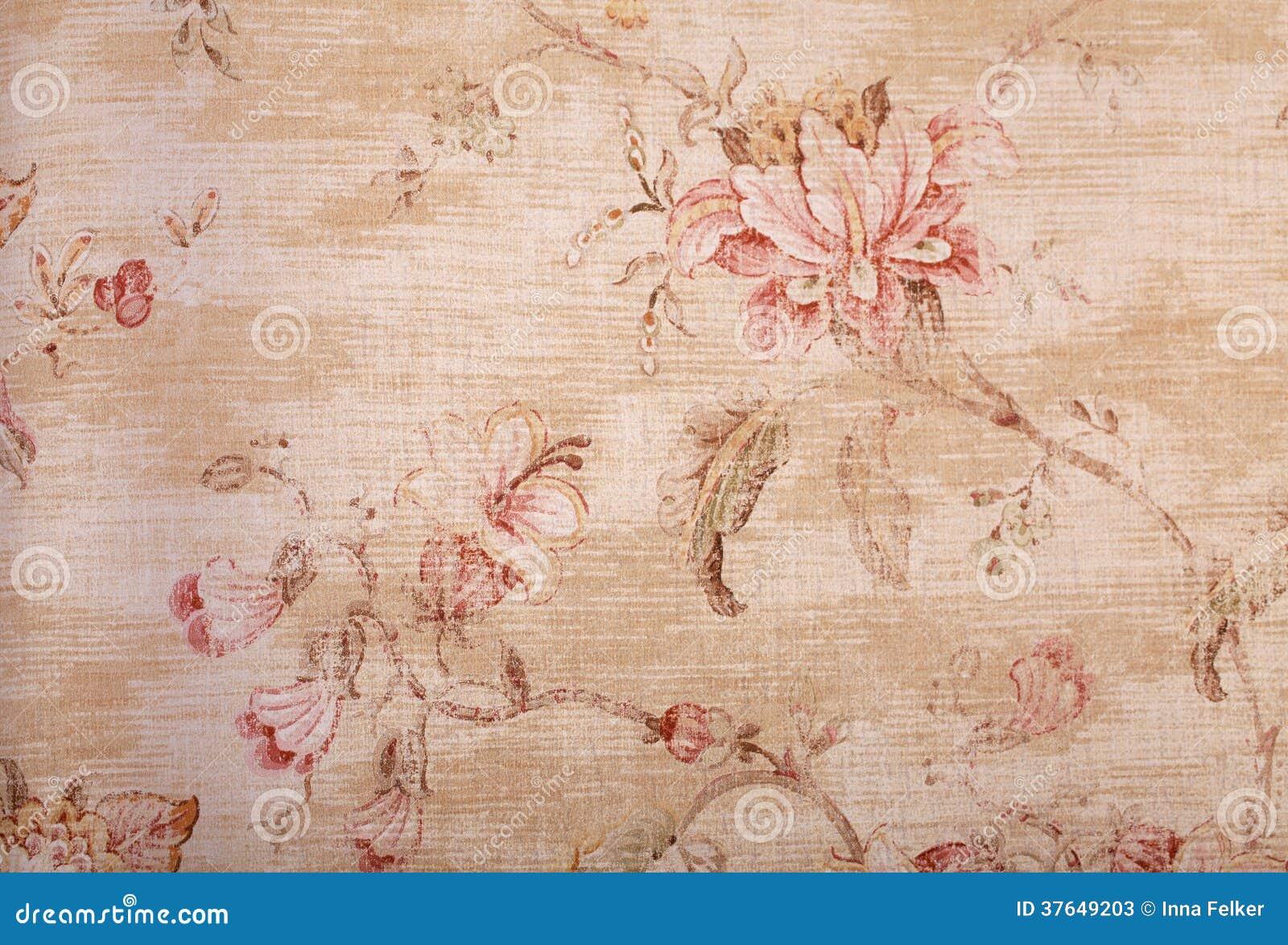 Papel pintado lamentable beige con el estampado de flores imagen de archivo imagen de imagen - Papel pintado vintage ...