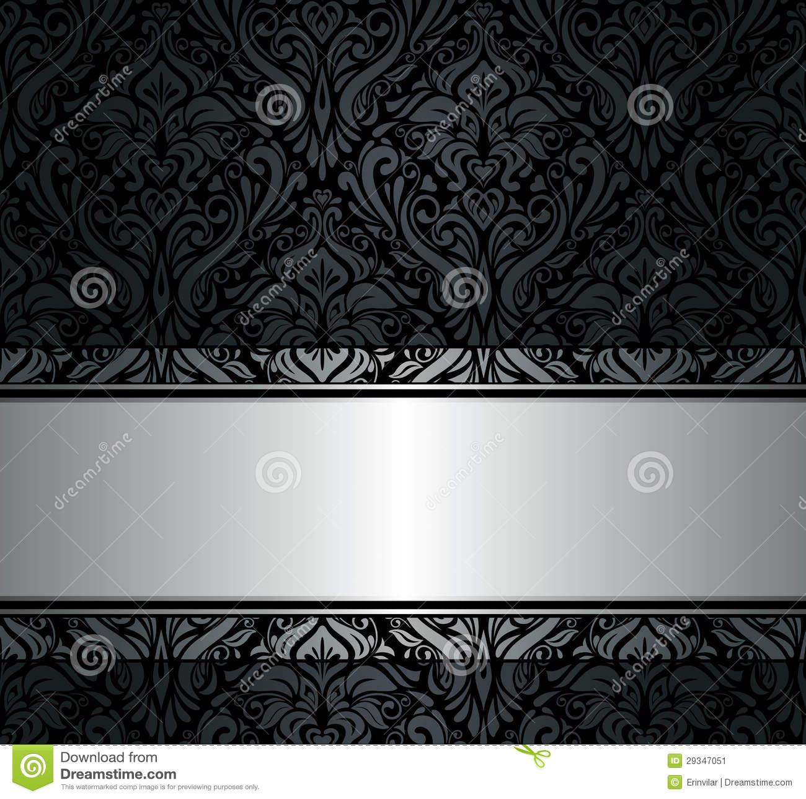 Papel pintado negro y de plata del vintage imagen de - Papel pintado blanco y plata ...
