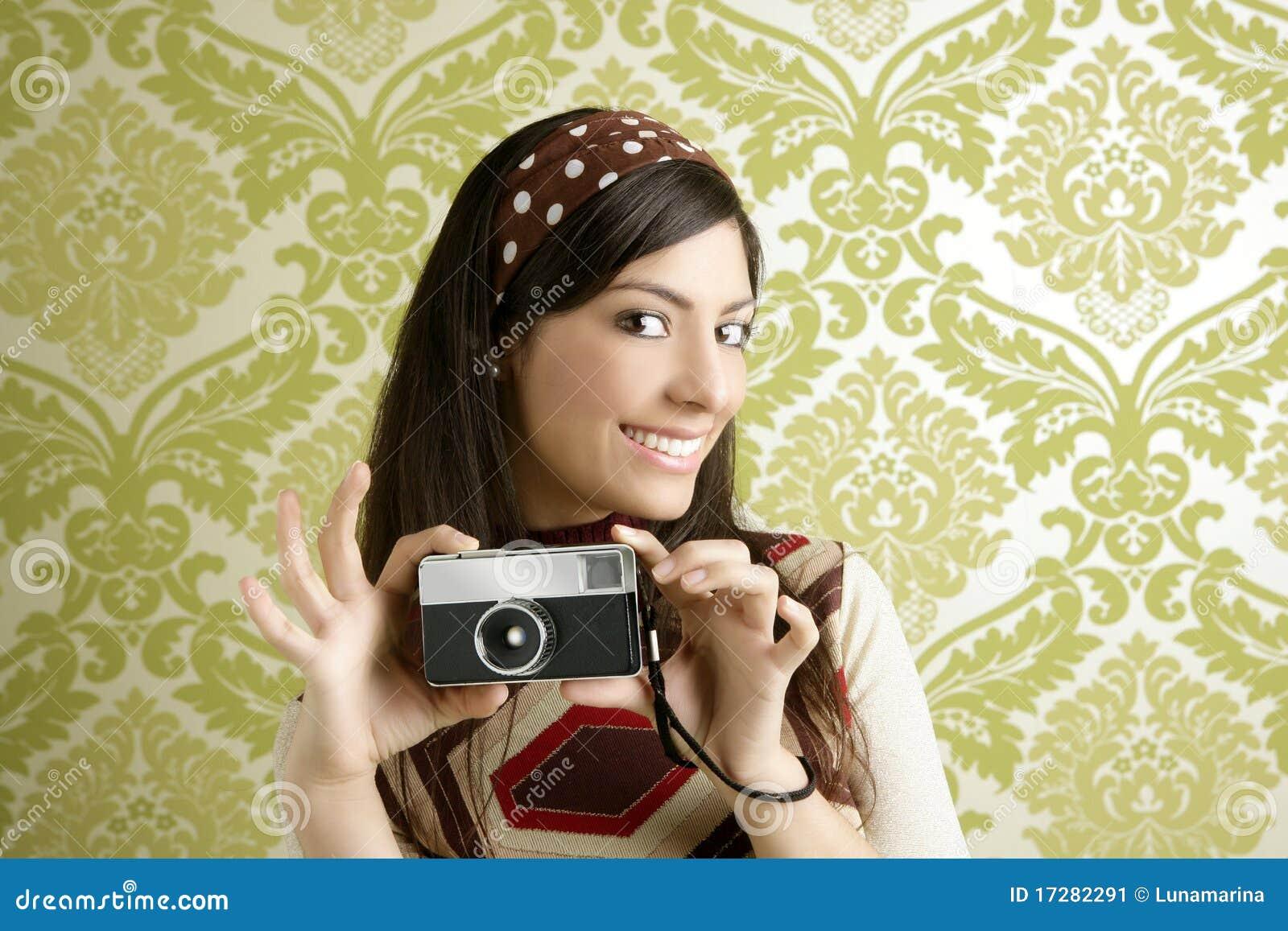 Papel pintado retro de los a os 60 del verde de la mujer de la c mara de la foto imagen de - Papel pintado anos 60 ...