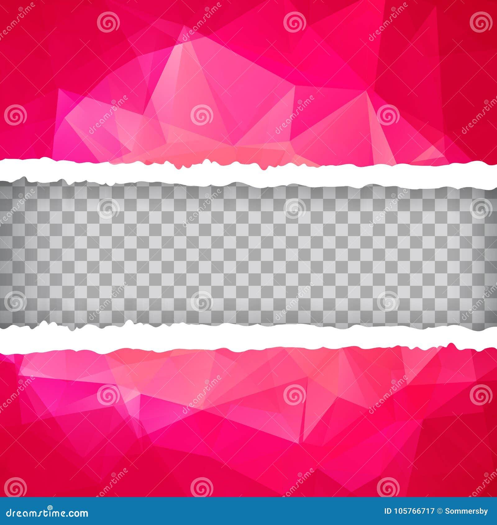 Papel rasgado poligonal triangular rosado abstracto