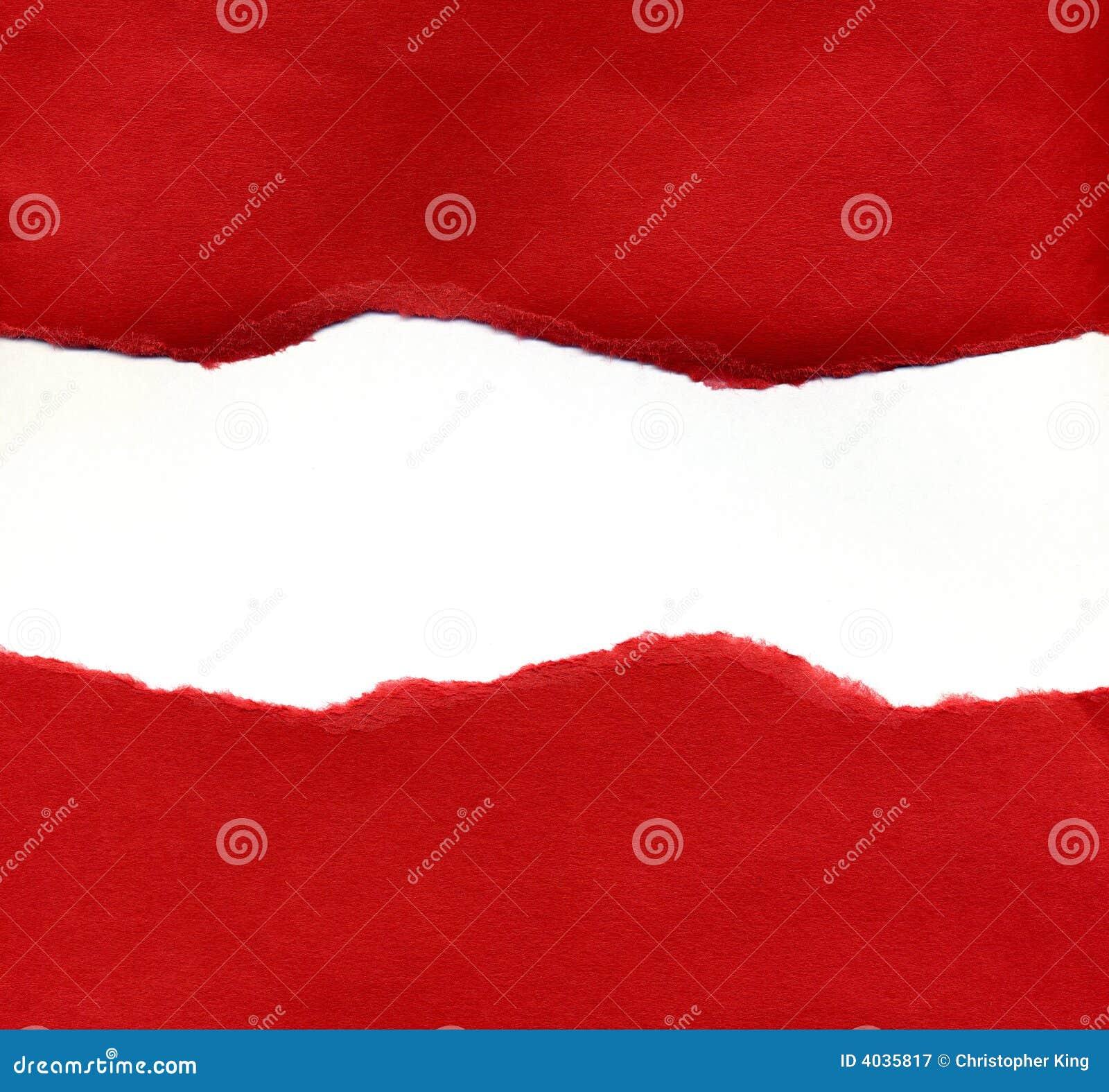 Papel Rasgado Rojo Que Revela Un Fondo Blanco Stock De