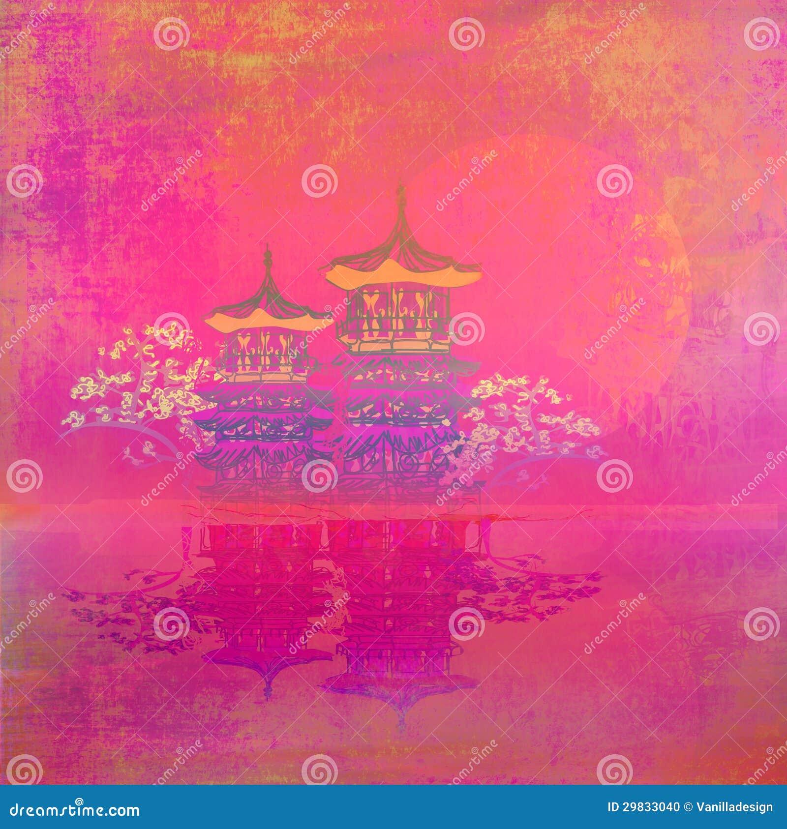 Papel velho com paisagem chinesa