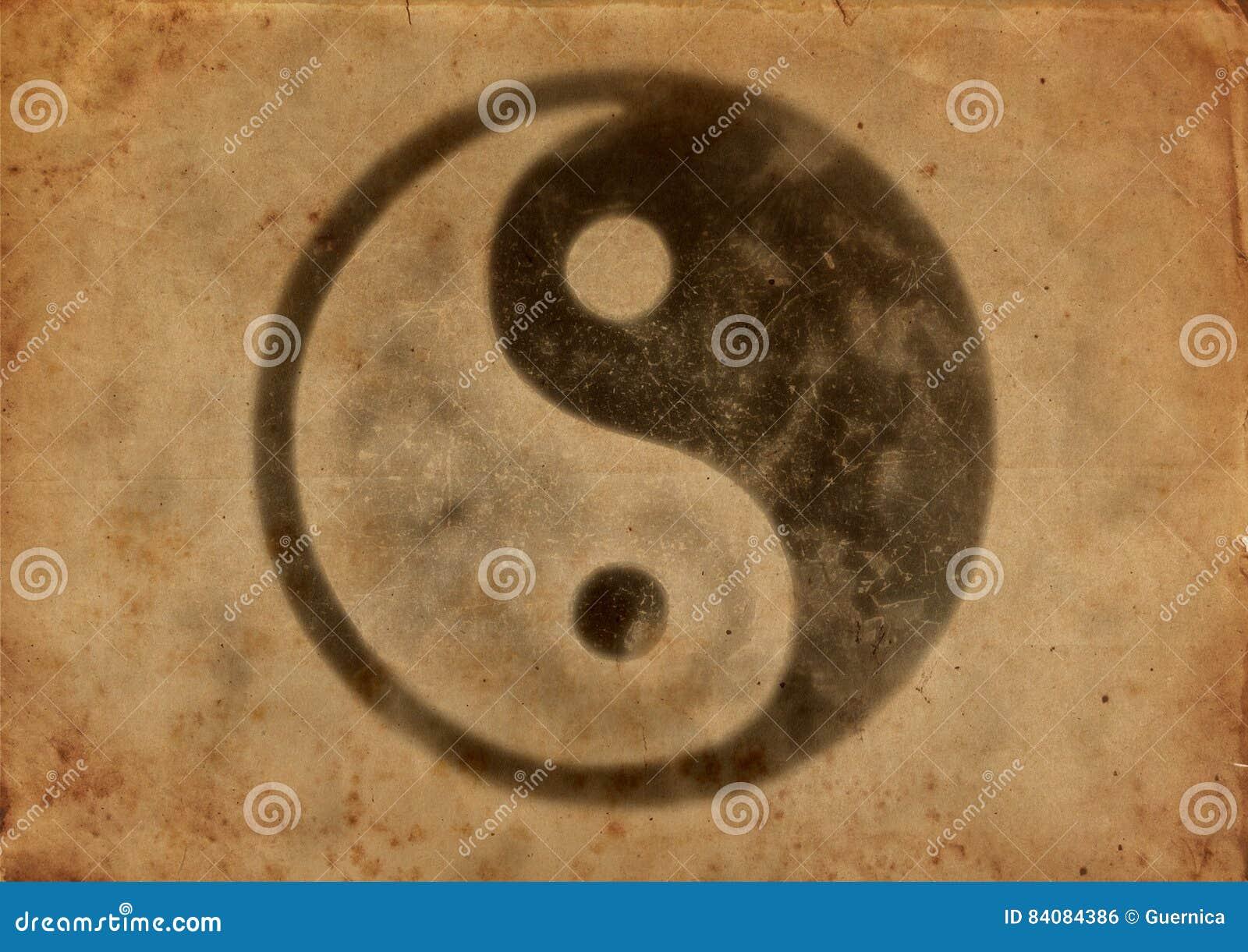 Papel viejo sucio con el logotipo de yang del yin