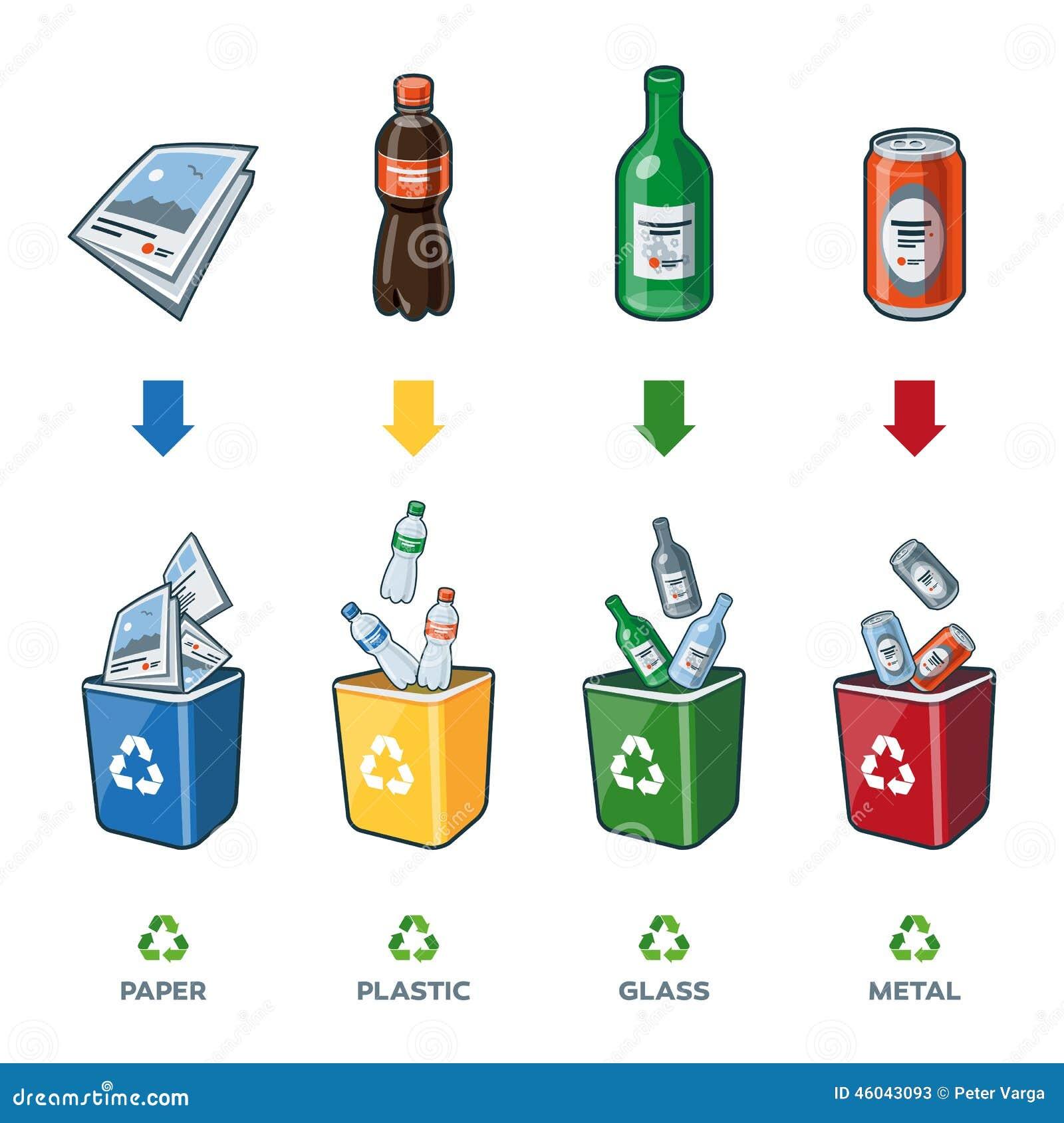 Papeleras de reciclaje para la basura de cristal pl stica - Papel para vidrios ...