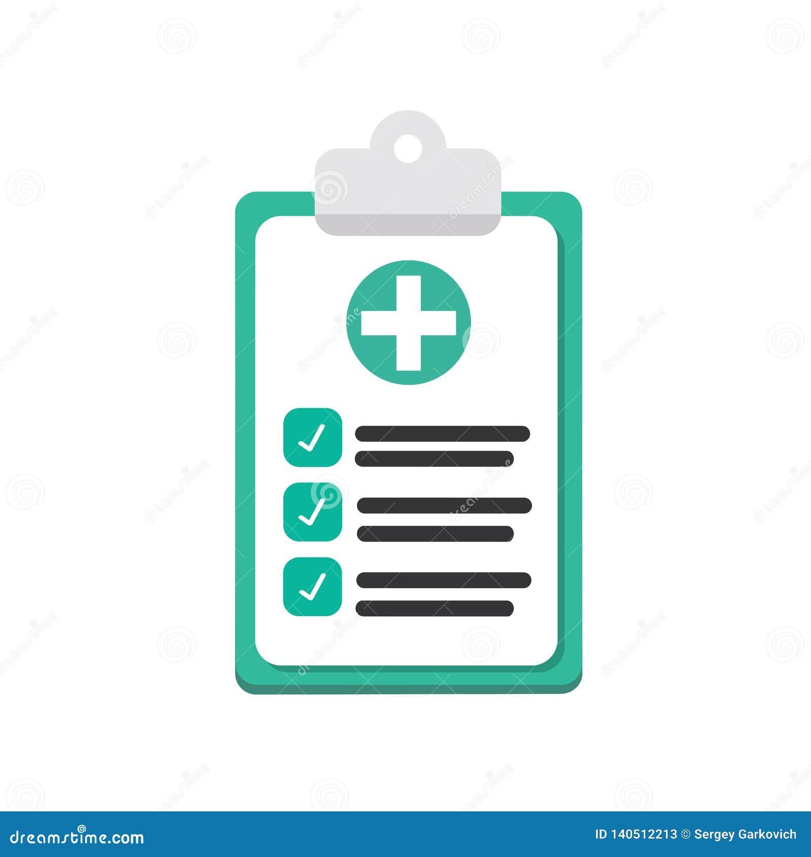 Papeles médicos, seguro aislados en fondo Cuide los documentos, papeleo, plan Diseño plano del vector