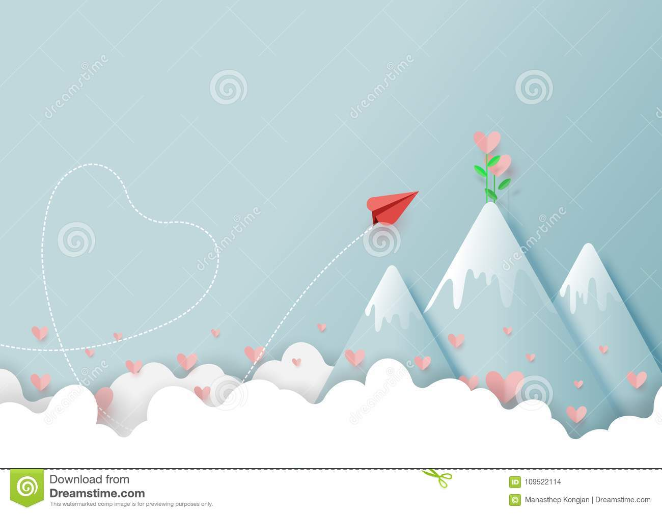 02.Paper airplane flying to love plant on top of mountain