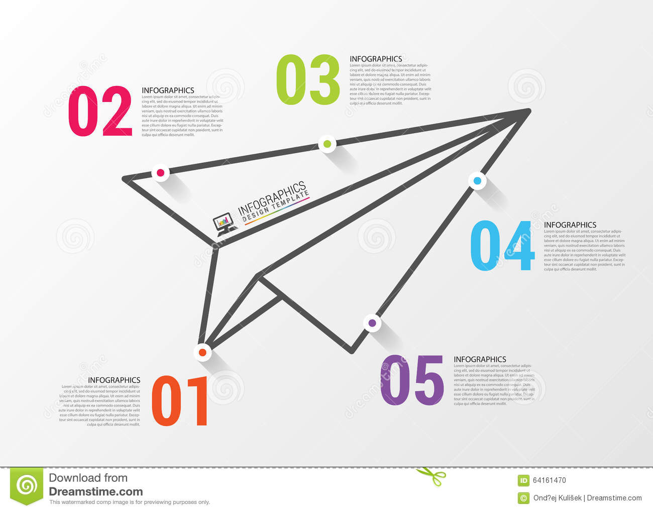Paper Airplane Template Diagrams Infographics Concept Vector Design Stock Dreamstime
