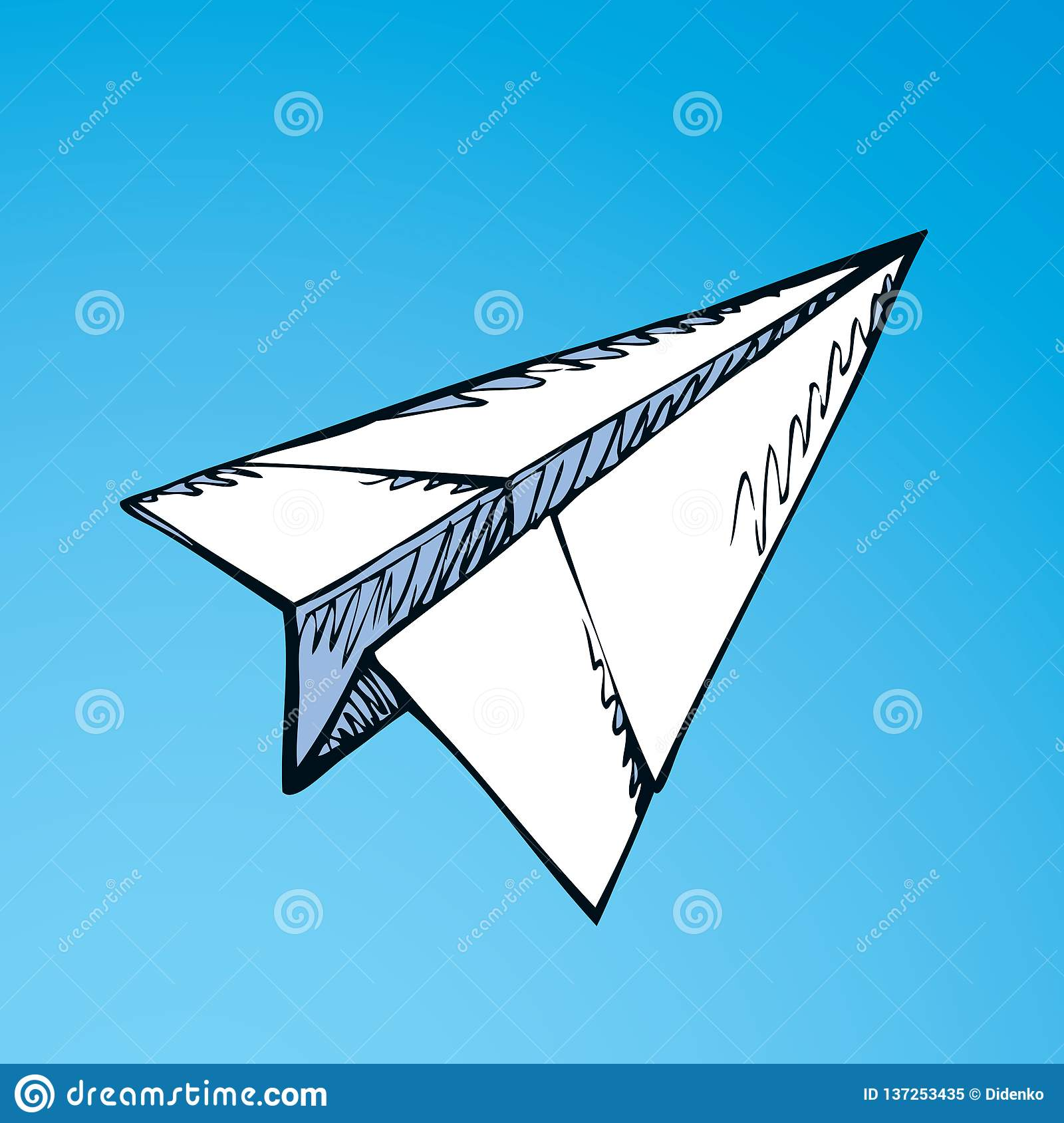 Paper Airplane Vector Drawing Stock Vector Illustration Of