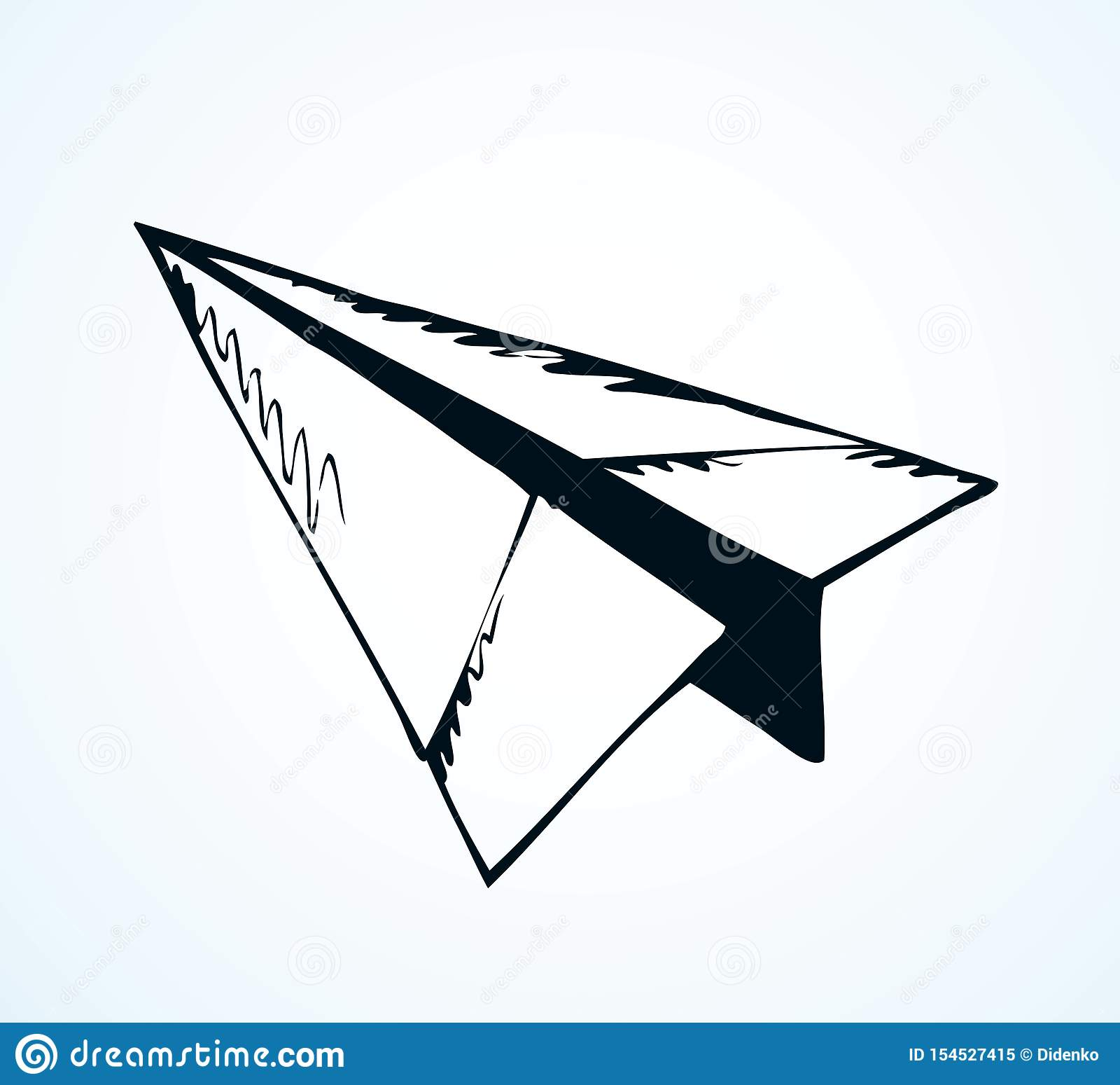 Paper Airplane Vector Drawing Stock Vector Illustration Of High