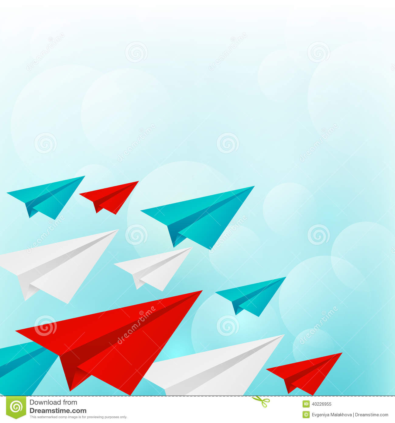 Paper Airplanes On Blue Sky Background Stock Vector - Illustration ...