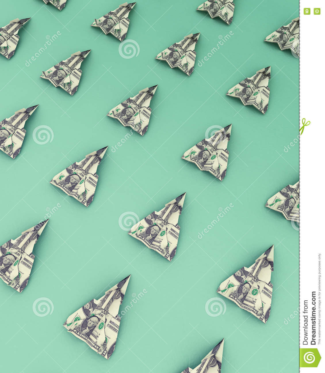 Paper Airplanes Made Out Of Money On The Green Background Stock