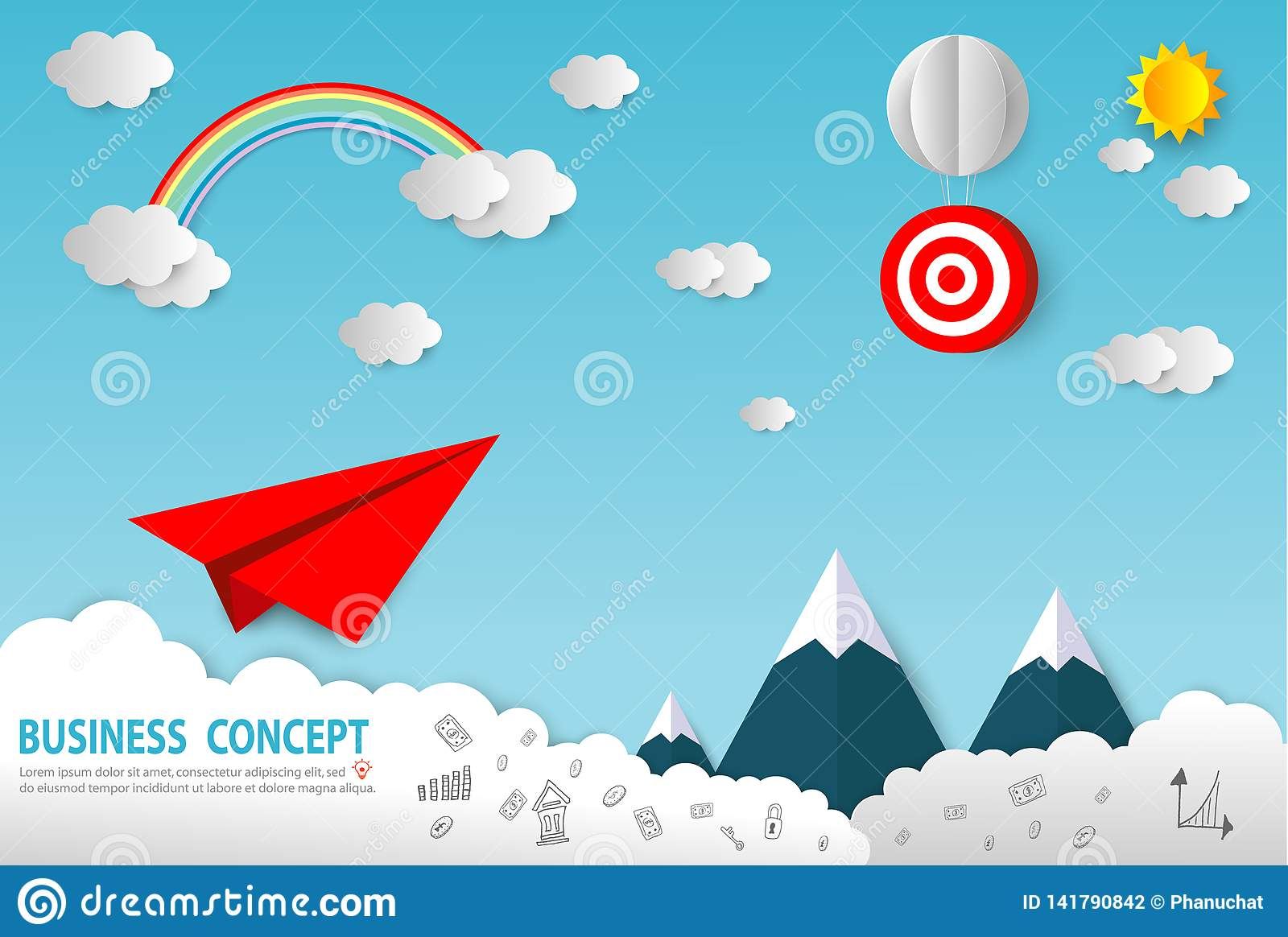 Paper Art Business Concept With Cloud And Sun Paper Plane Flying On Sky Design Business Startup Concept Leadership Creative Stock Vector Illustration Of City Flight 141790842