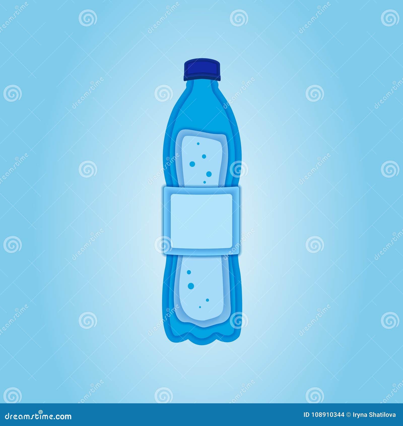 Paper Art Carve Of Water Bottle Logo Design Template Save Ecology Concept