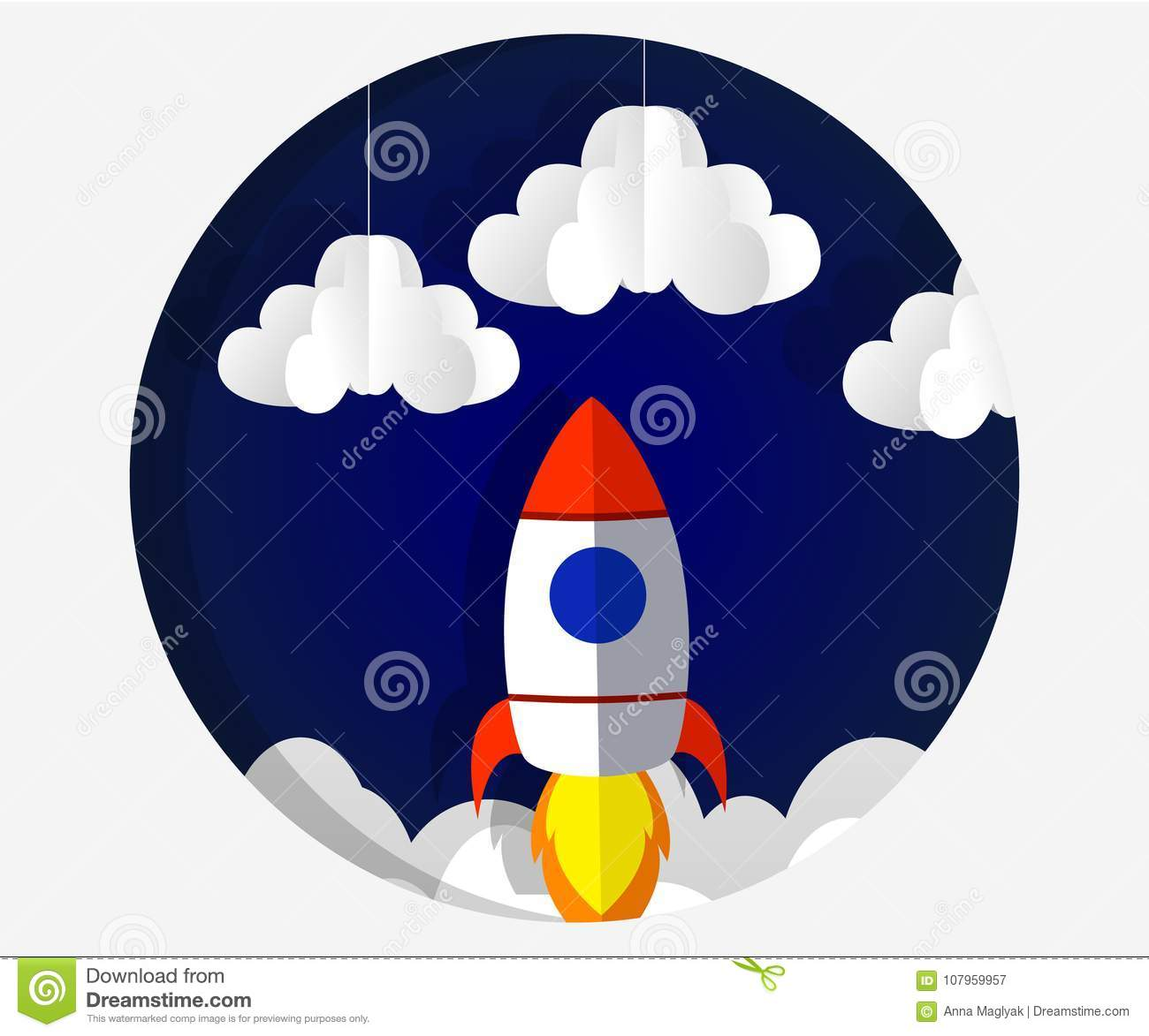Paper Art Carving The Rocket Flying In Space Concept Business Idea